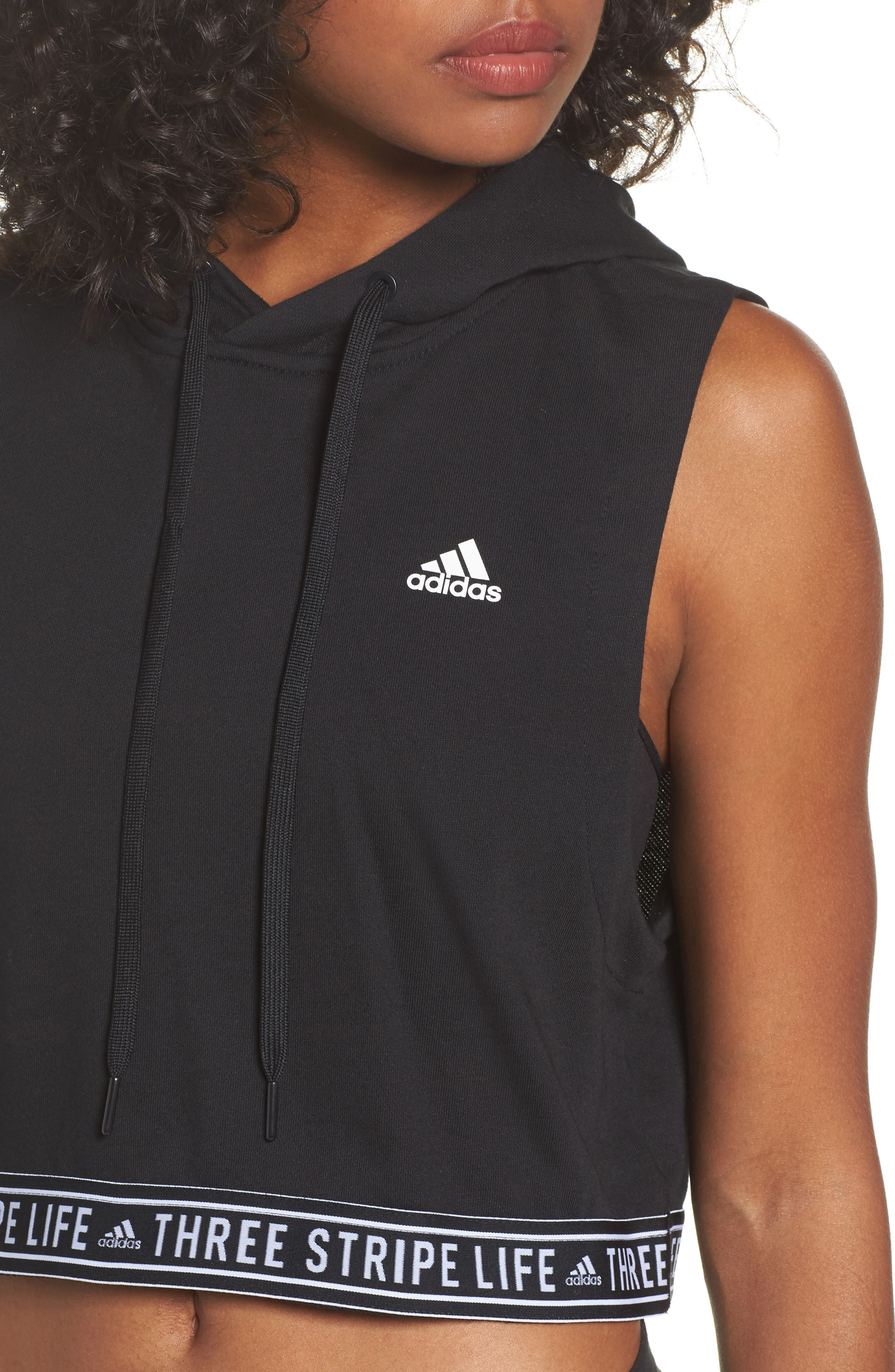 3-Stripes Life Crop Hoodie,                             Alternate thumbnail 4, color,                             Black