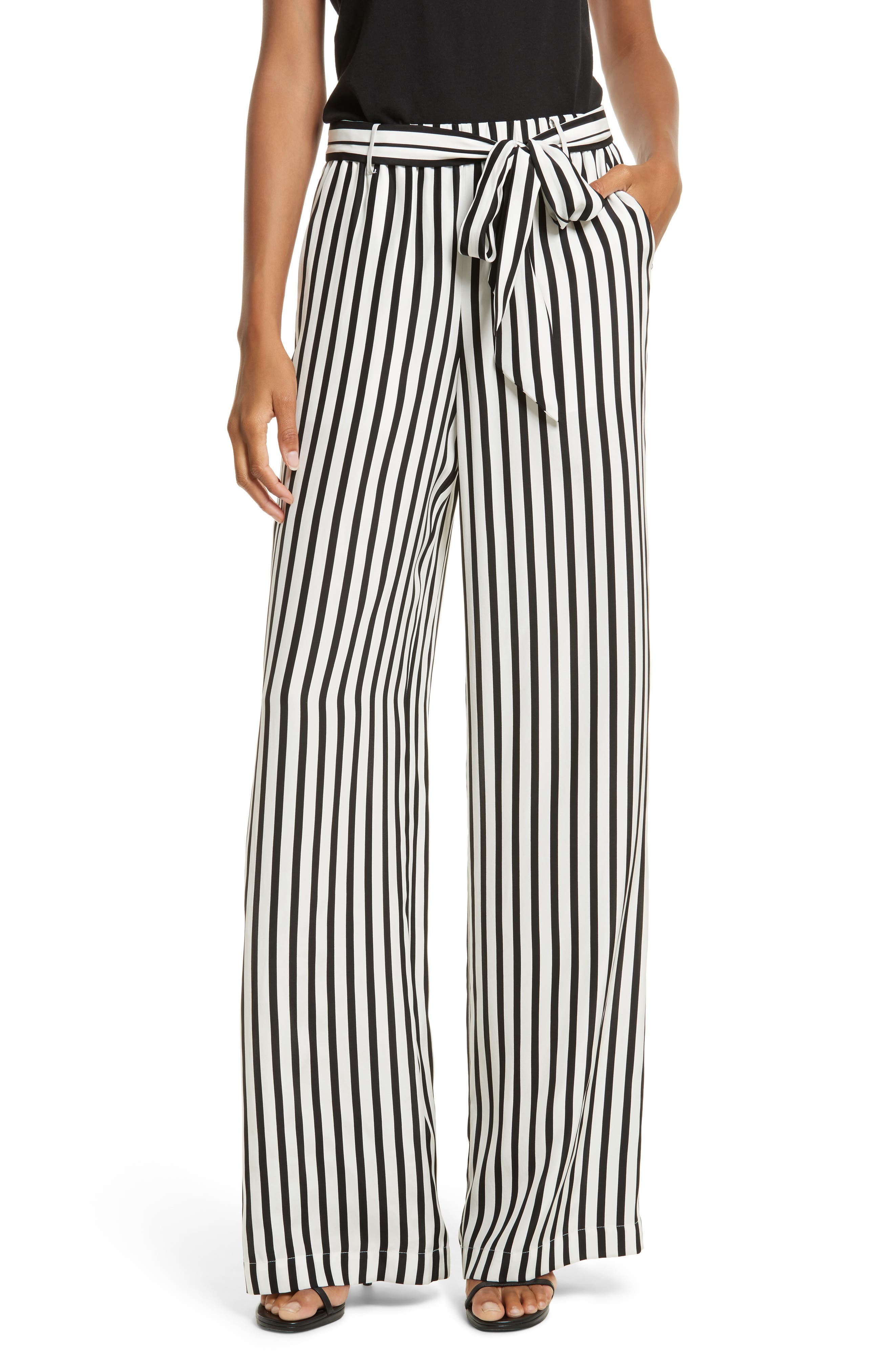 Stripe Wide Leg Silk Pants,                         Main,                         color, Noir Multi
