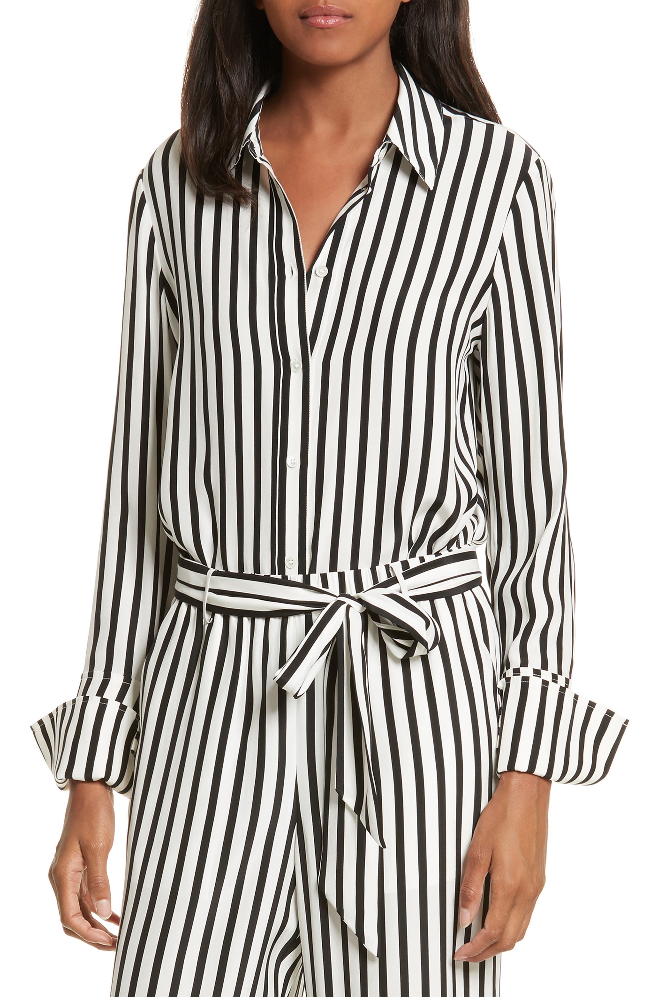 Stripe Silk Shirt,                             Alternate thumbnail 4, color,                             Noir Multi