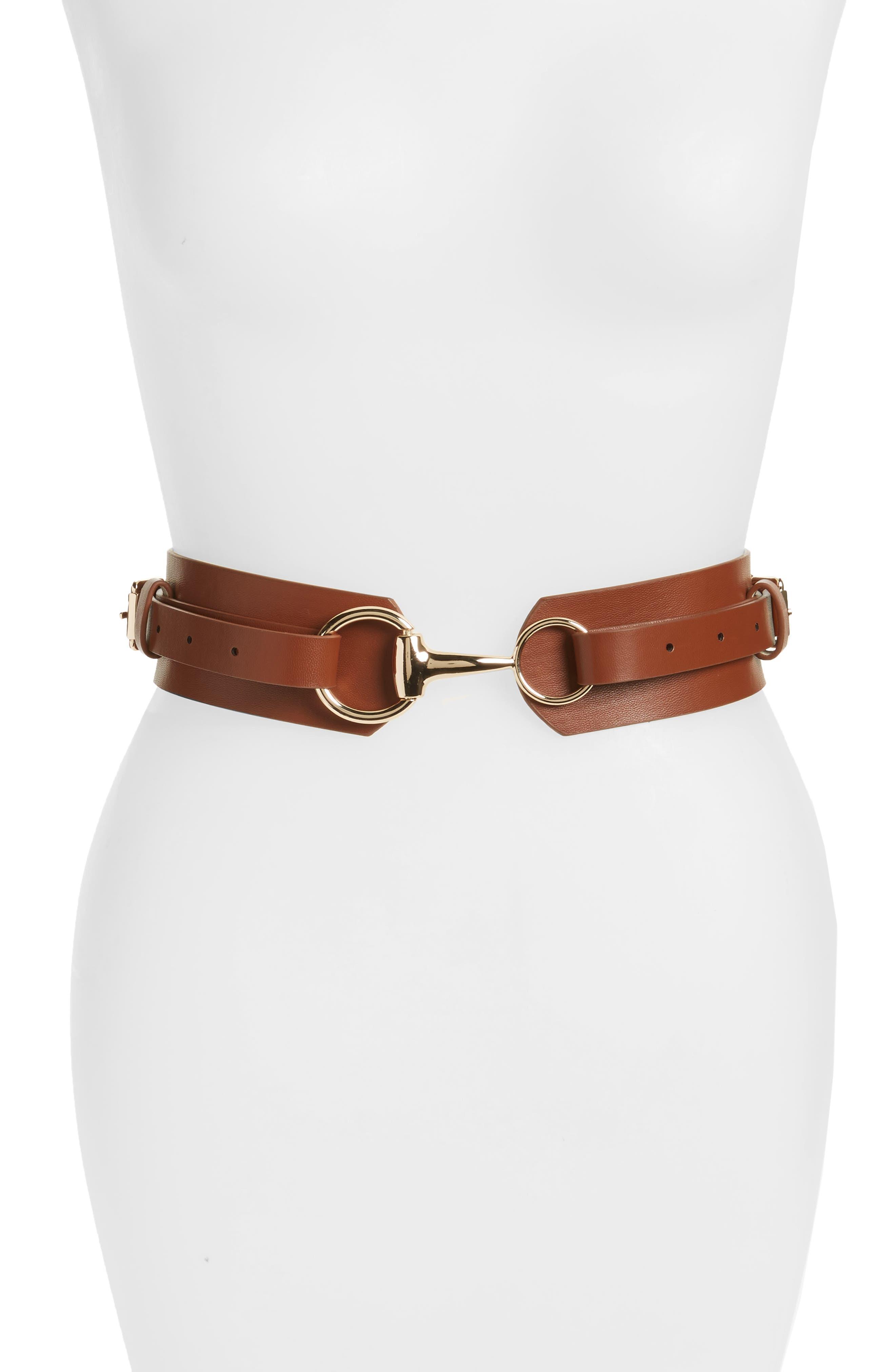 Accessory Collective Faux Leather Equestrian Belt,                         Main,                         color, Cognac/ Gold