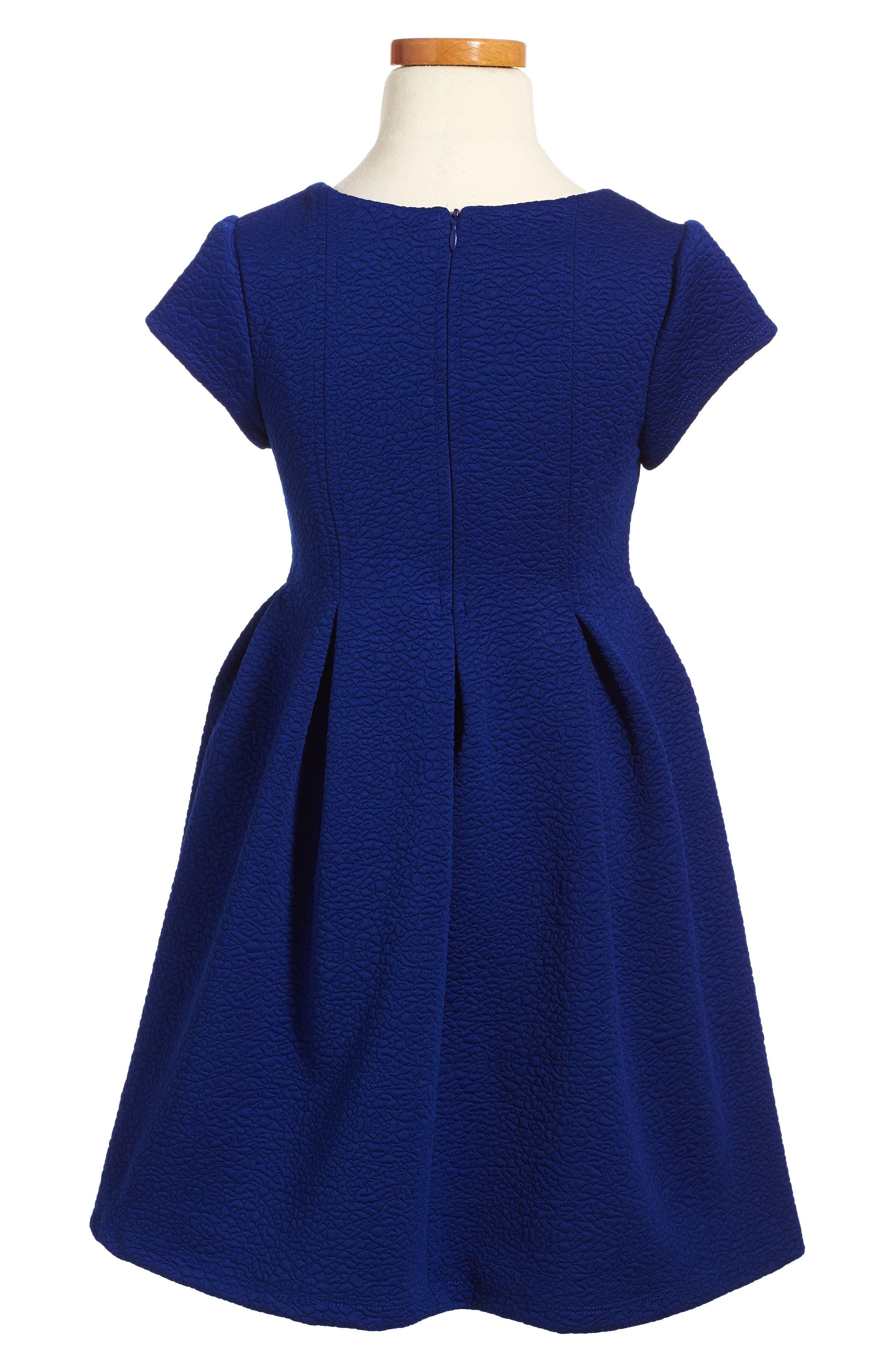 Pleated Knit Dress,                             Alternate thumbnail 2, color,                             Royal