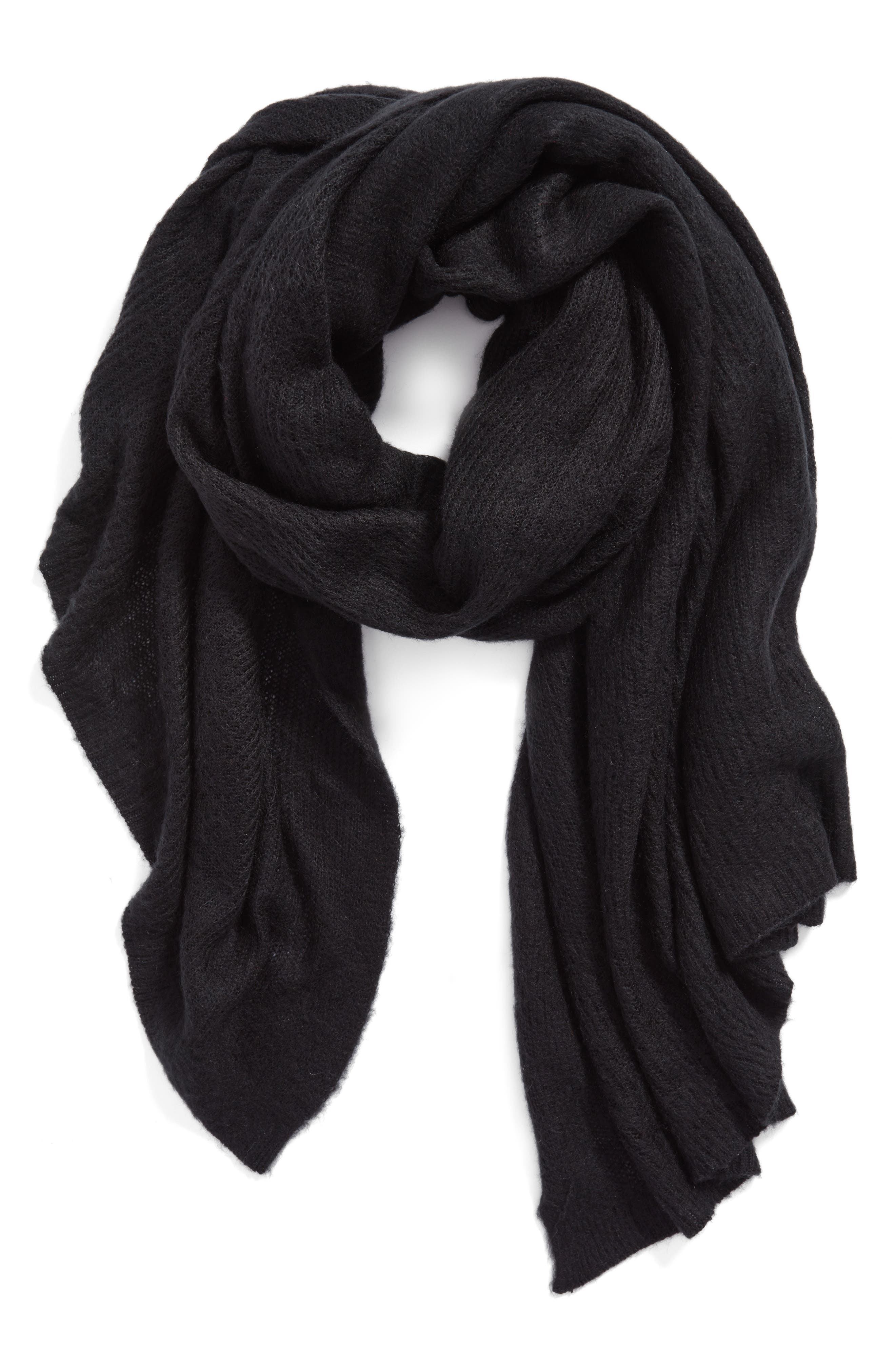 Kennedy Waffle Knit Scarf,                             Main thumbnail 1, color,                             Black