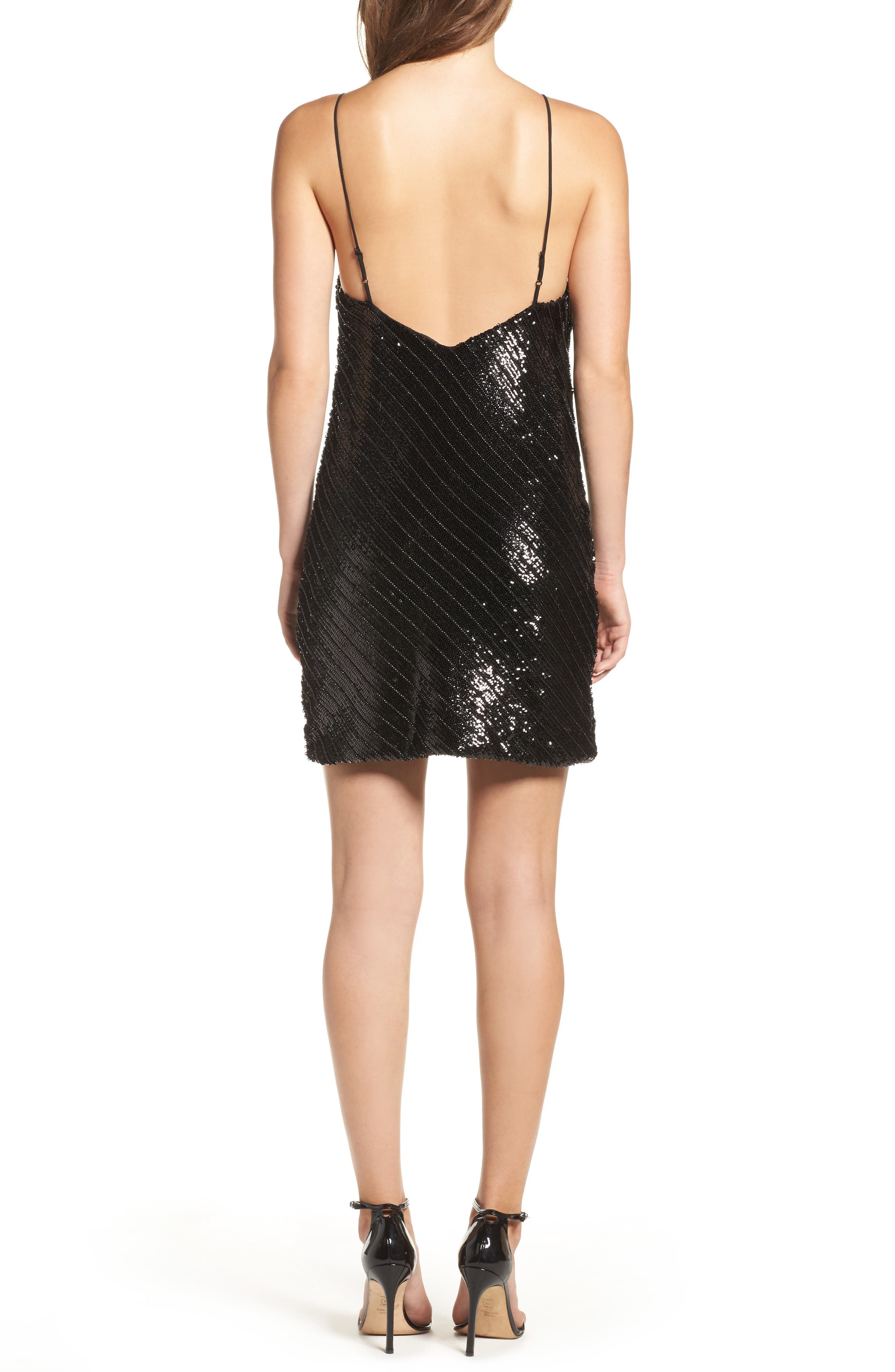 Emmie Sequin Mini Slipdress,                             Alternate thumbnail 2, color,                             Black
