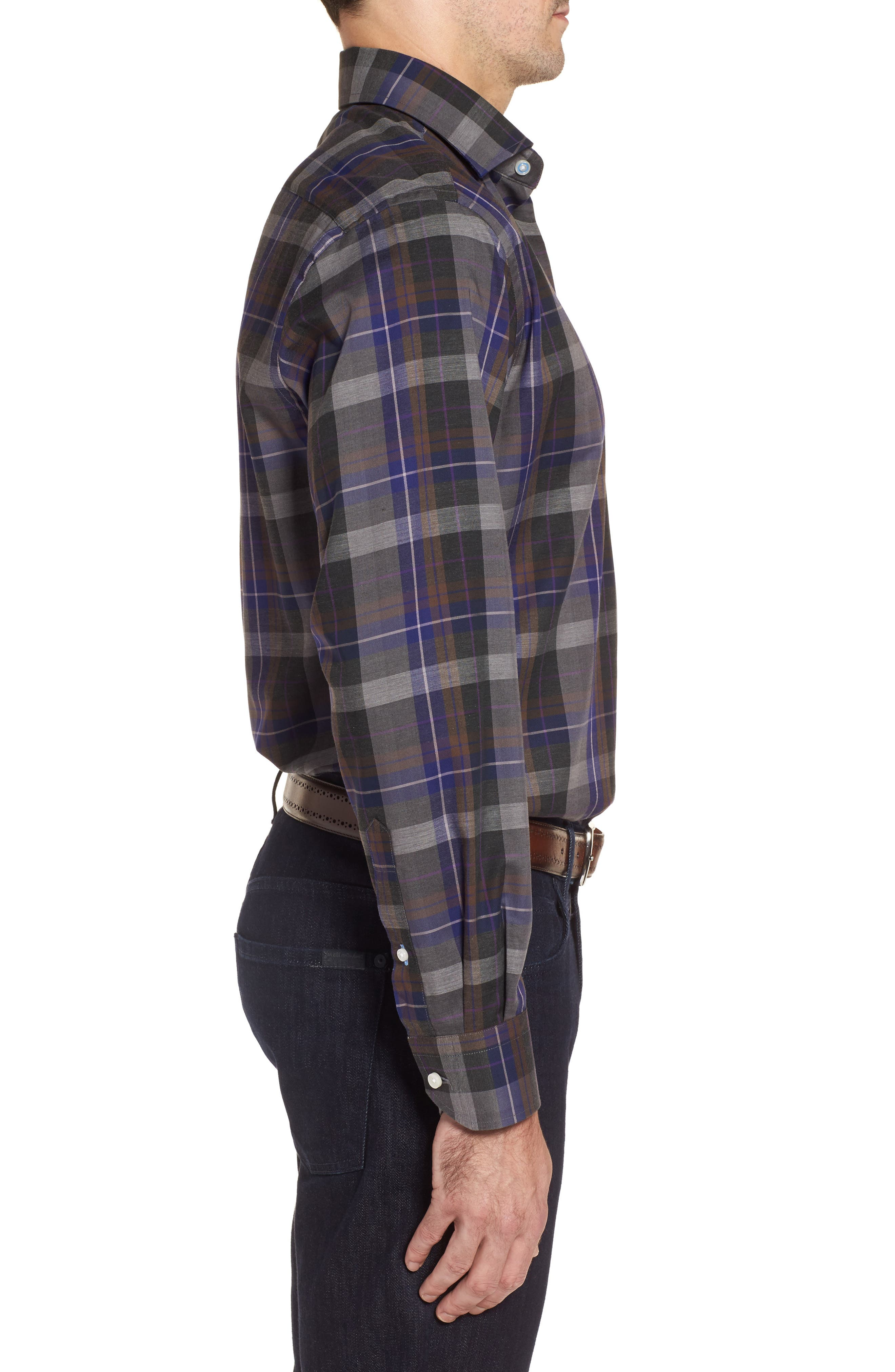 Cullen Plaid Twill Sport Shirt,                             Alternate thumbnail 3, color,                             Blue