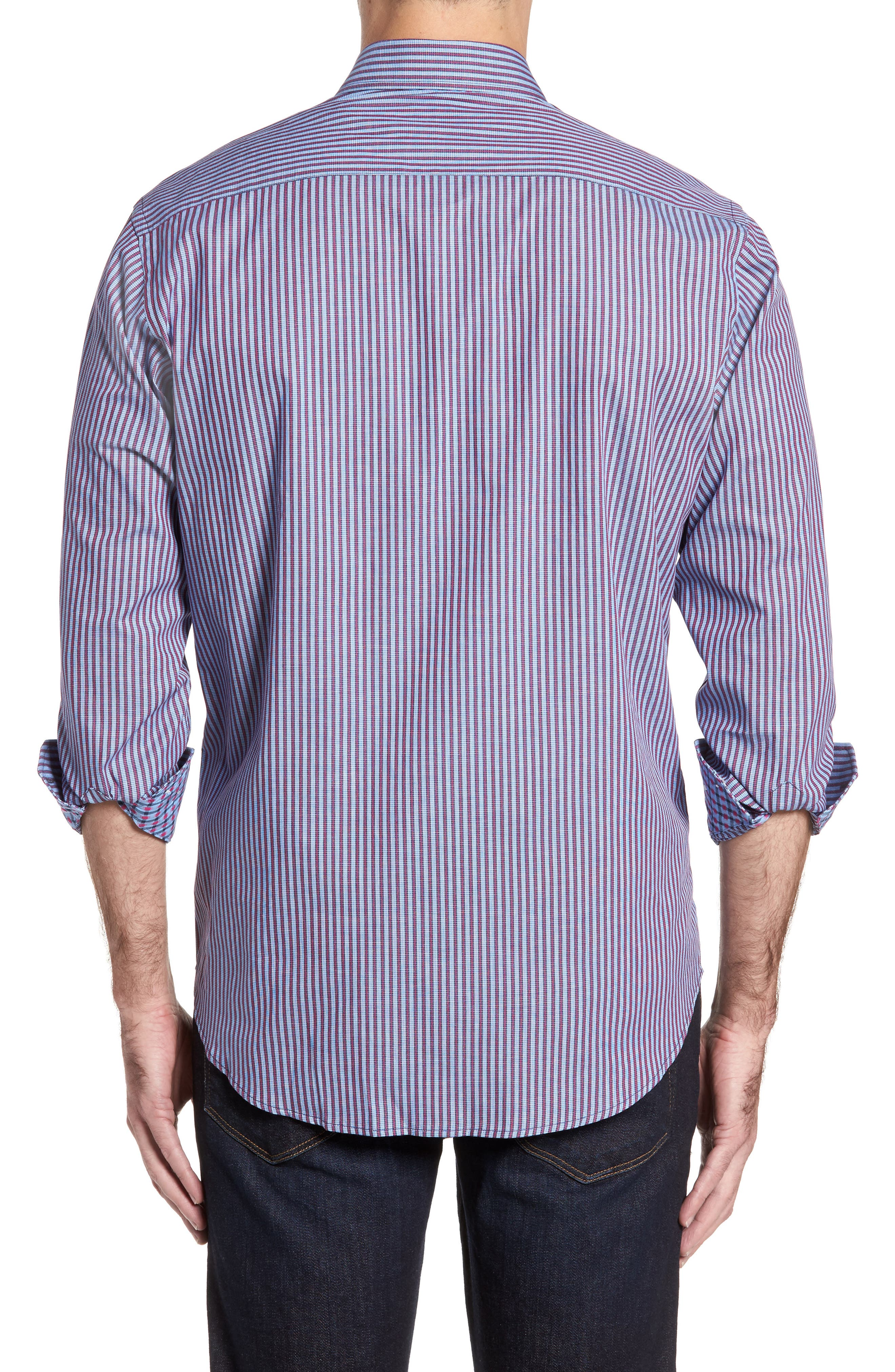 Brownfields Striped Sport Shirt,                             Alternate thumbnail 2, color,                             Merlot