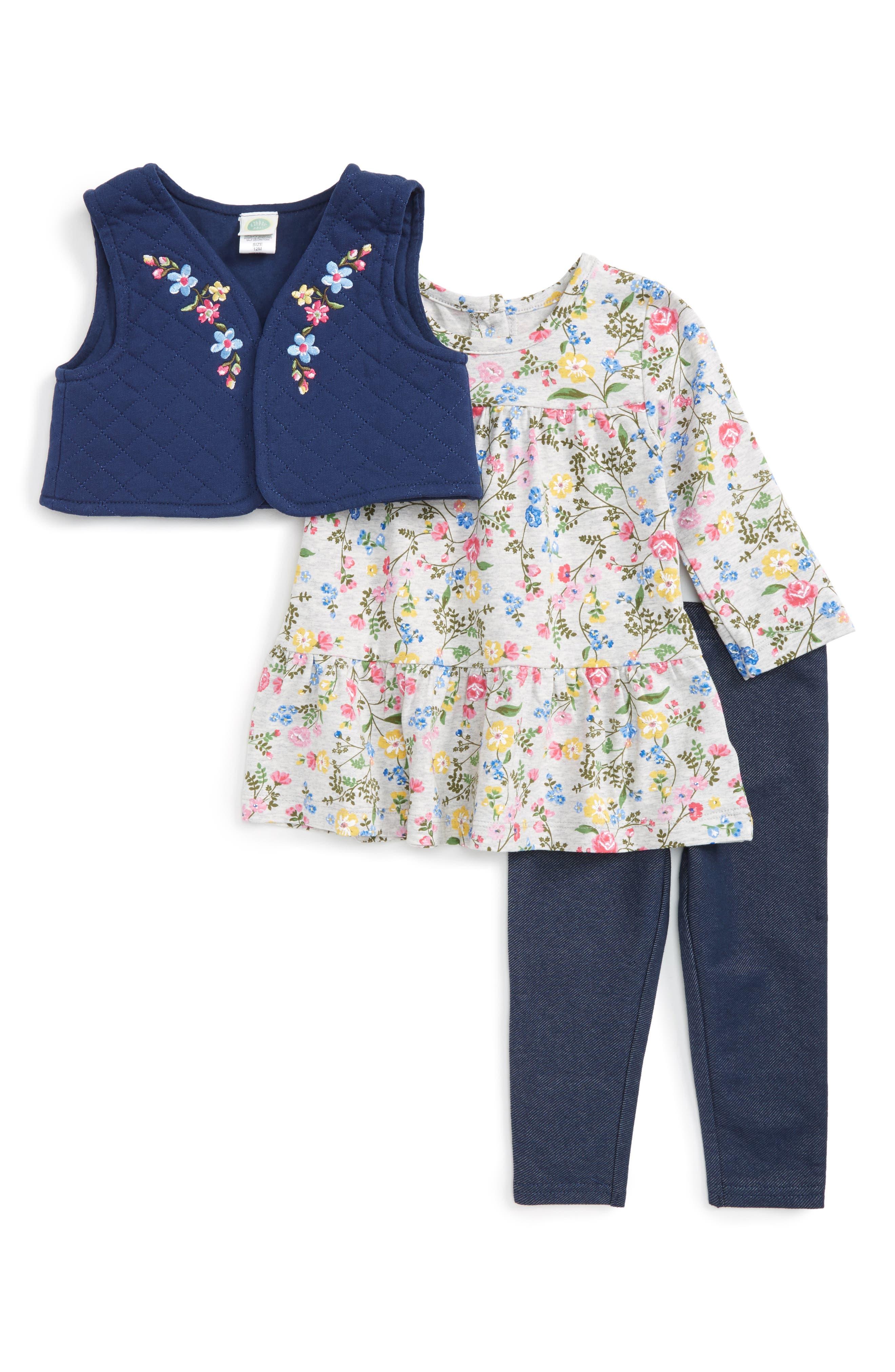 Main Image - Little Me Floral Vest, Shirt & Pants Set (Baby Girls)