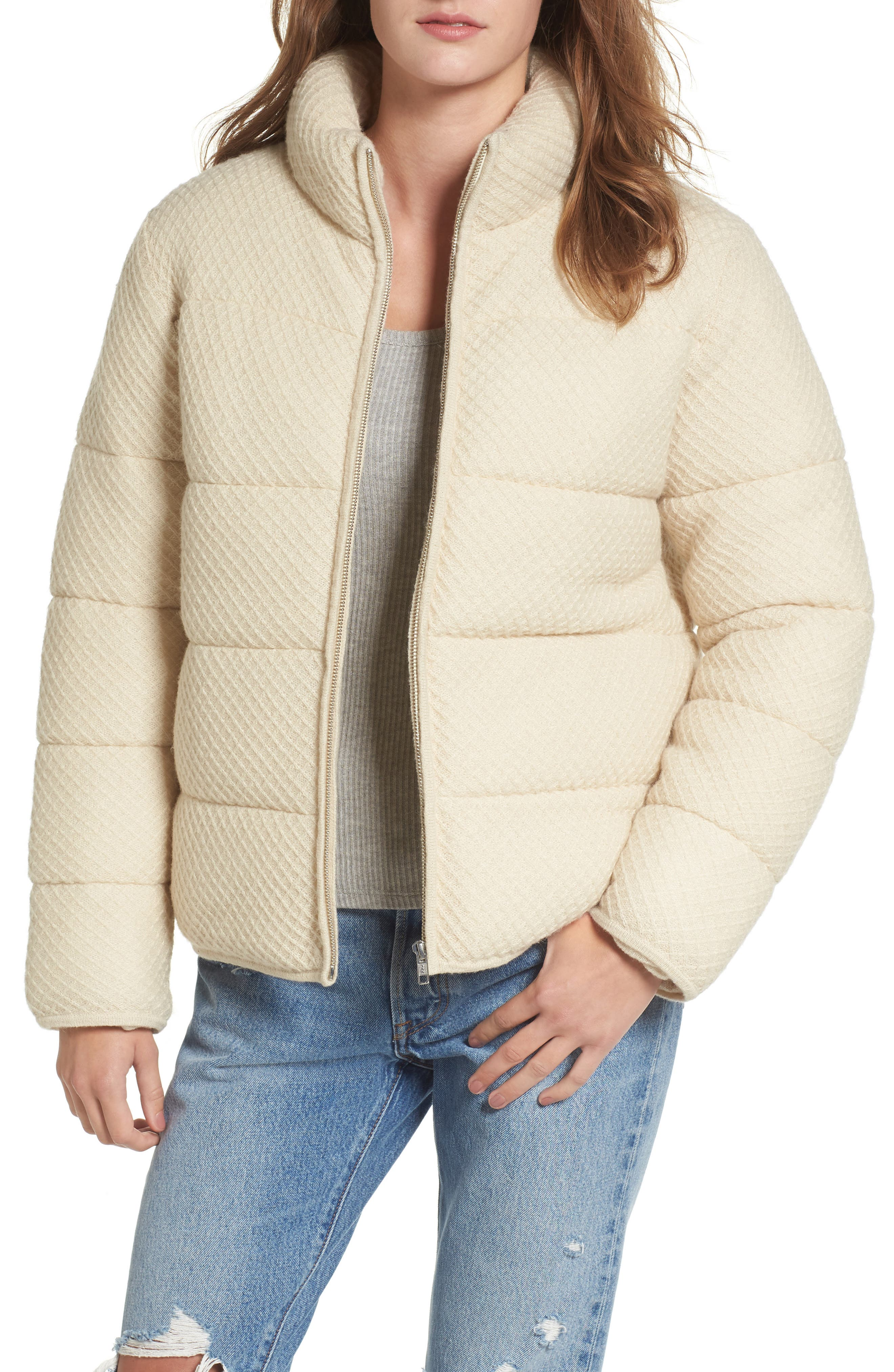 Knit Puffer Jacket,                         Main,                         color, Ivory
