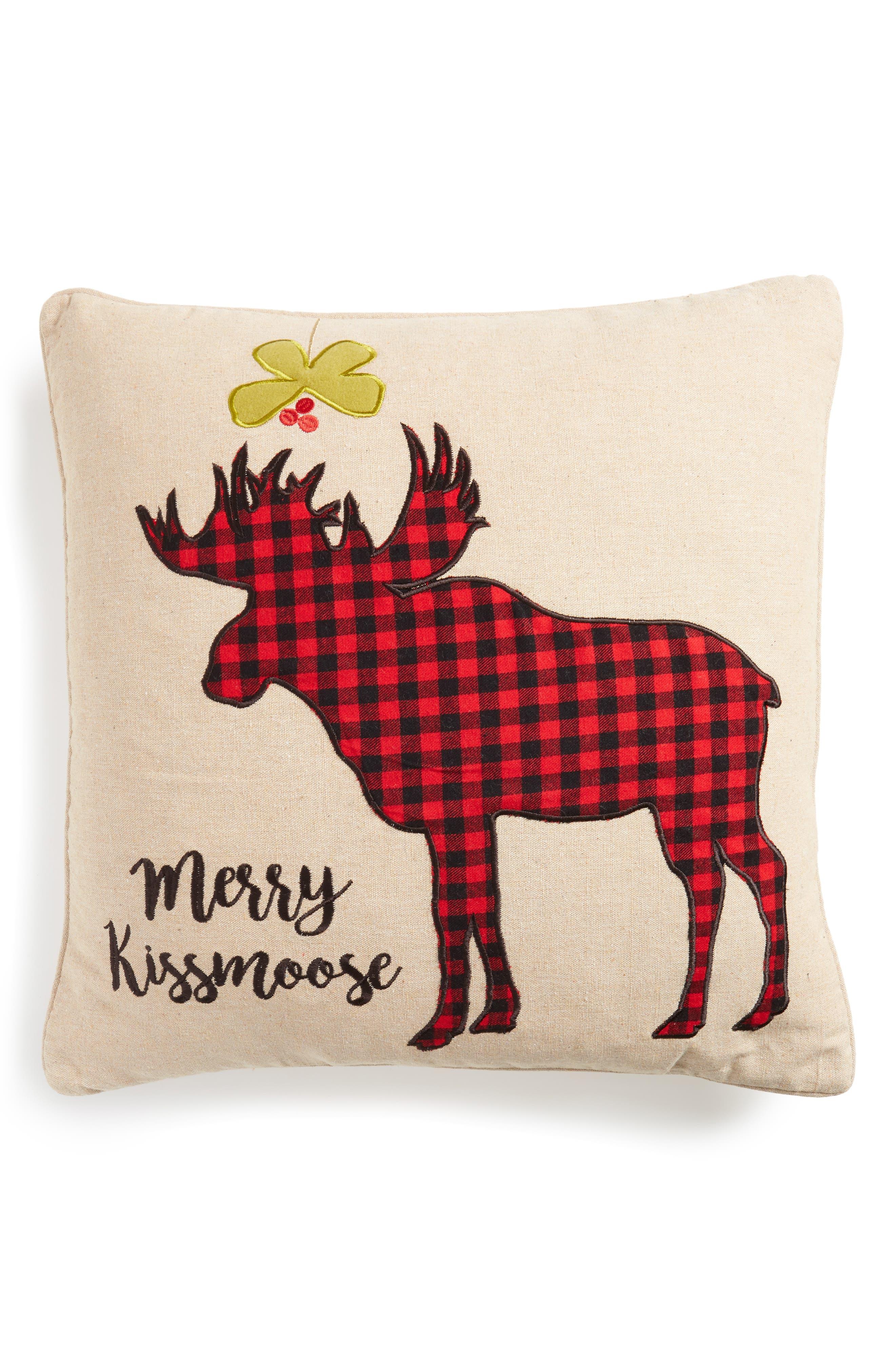 Plaid Merry Kissmoose Accent Pillow,                         Main,                         color, Natural