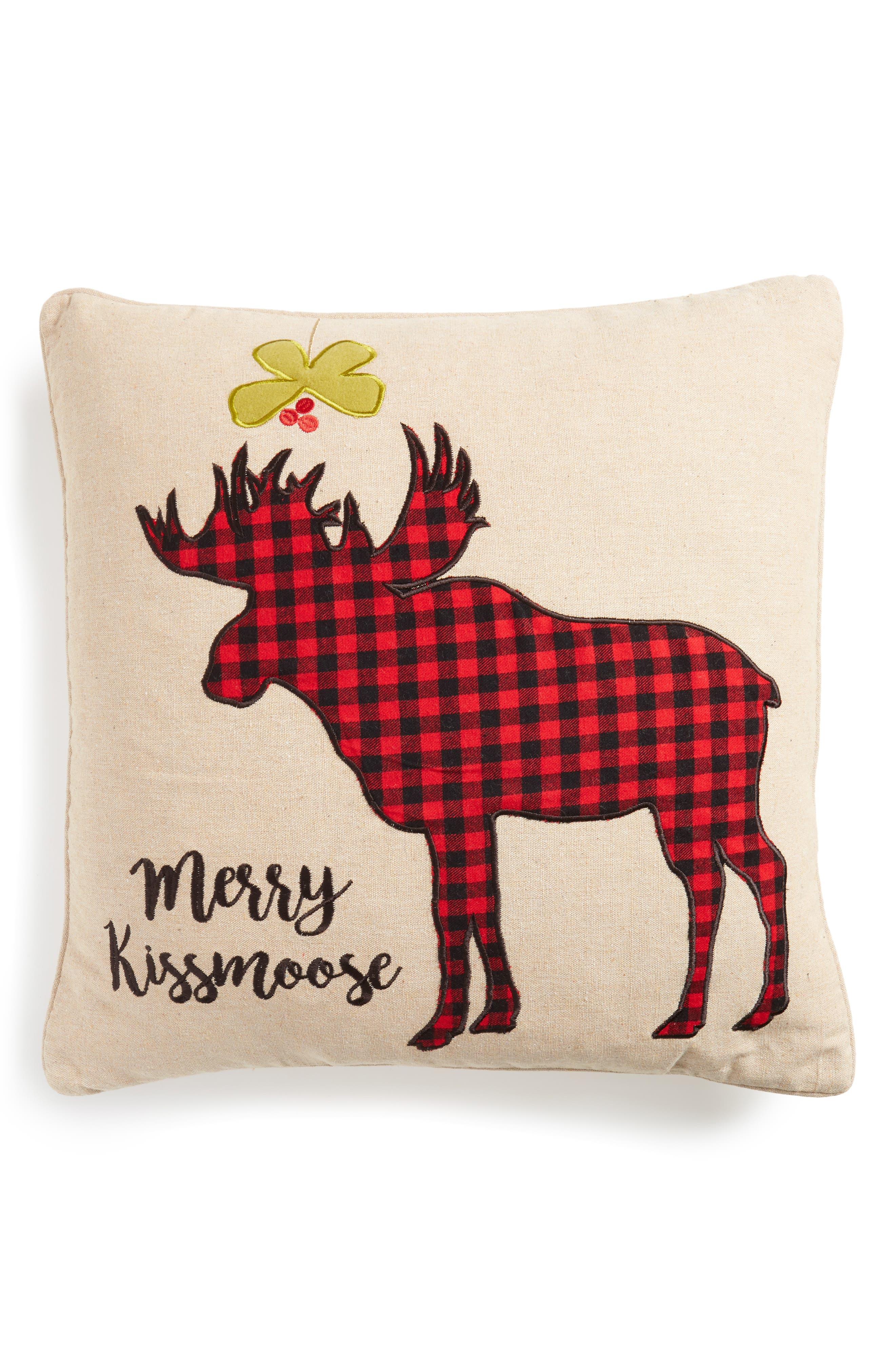 Levtex Plaid Merry Kissmoose Accent Pillow