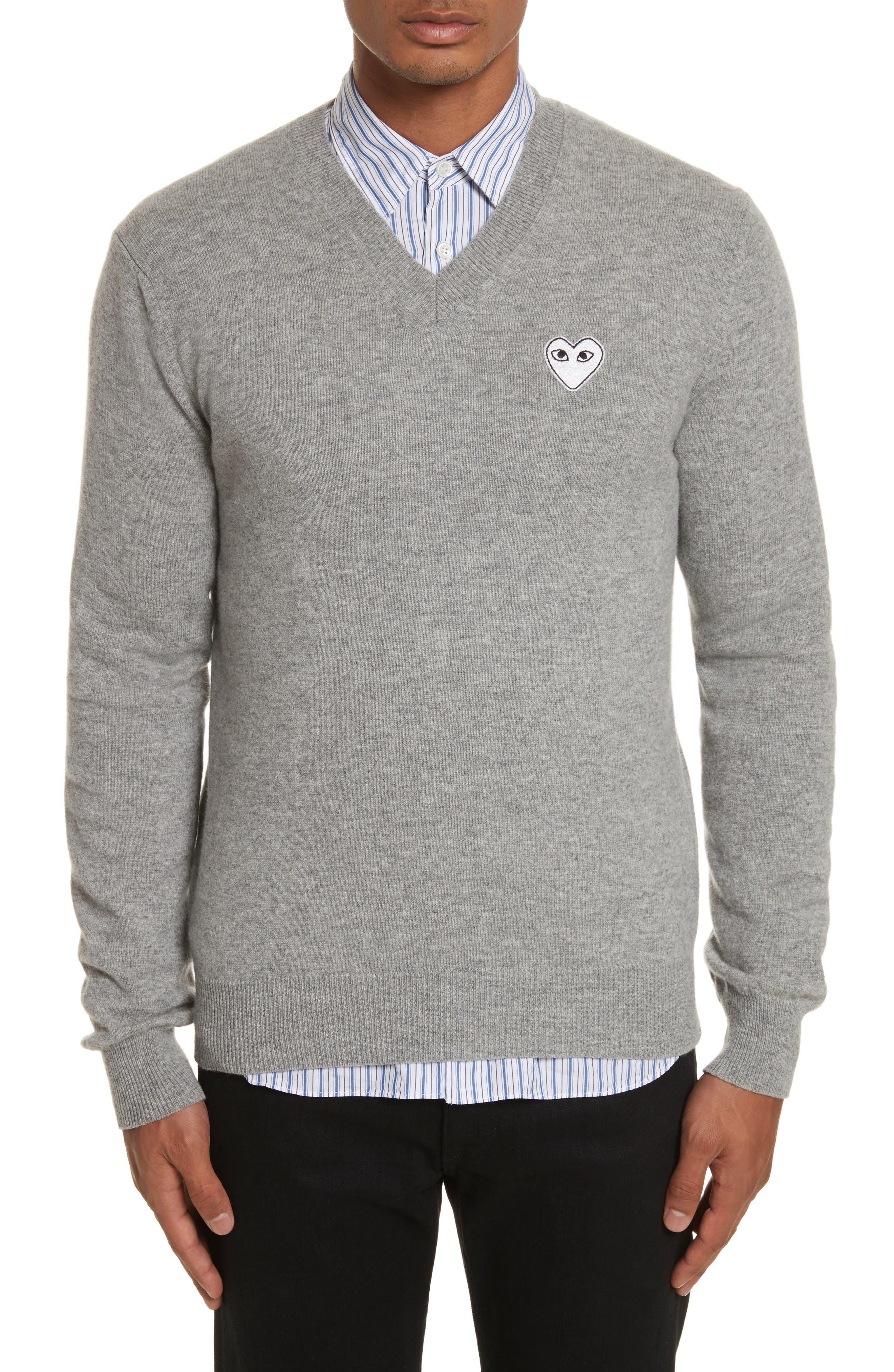 Comme des Garçons White Heart Wool V-Neck Sweater
