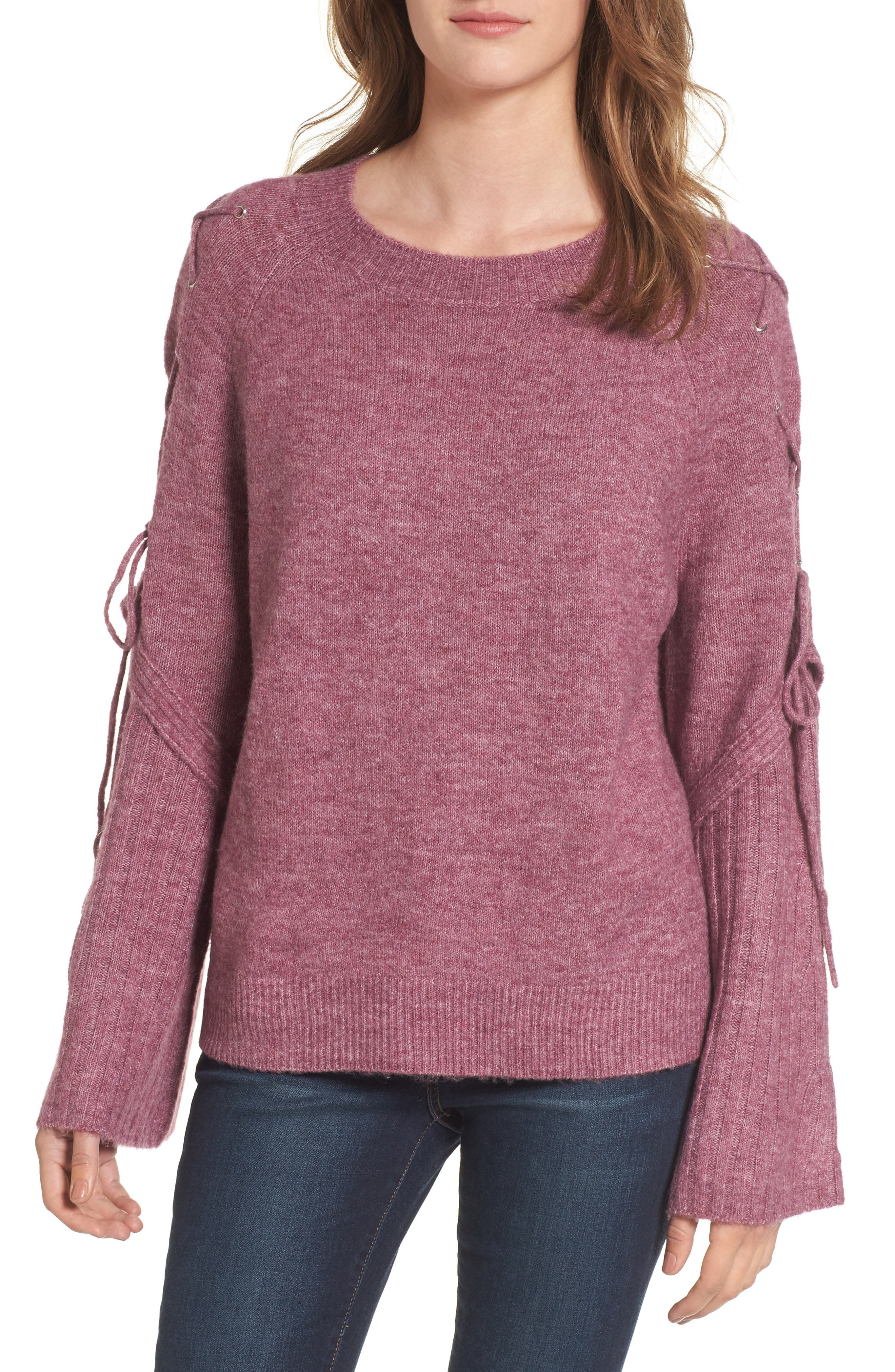 Lace Up Shoulder Sweater,                         Main,                         color, Purple Syrup Heather