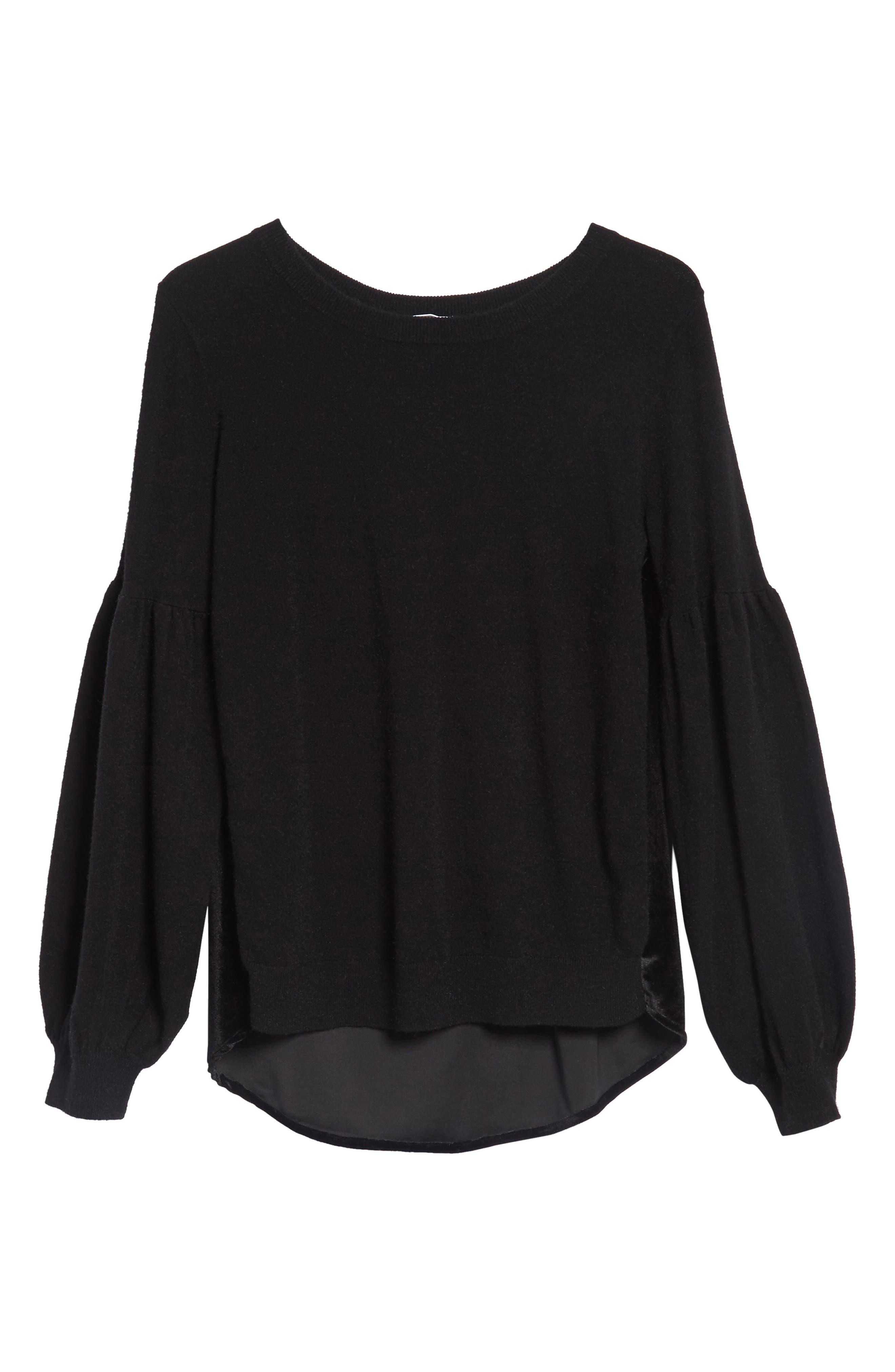 Velvet Back Sweater,                             Alternate thumbnail 6, color,                             Black