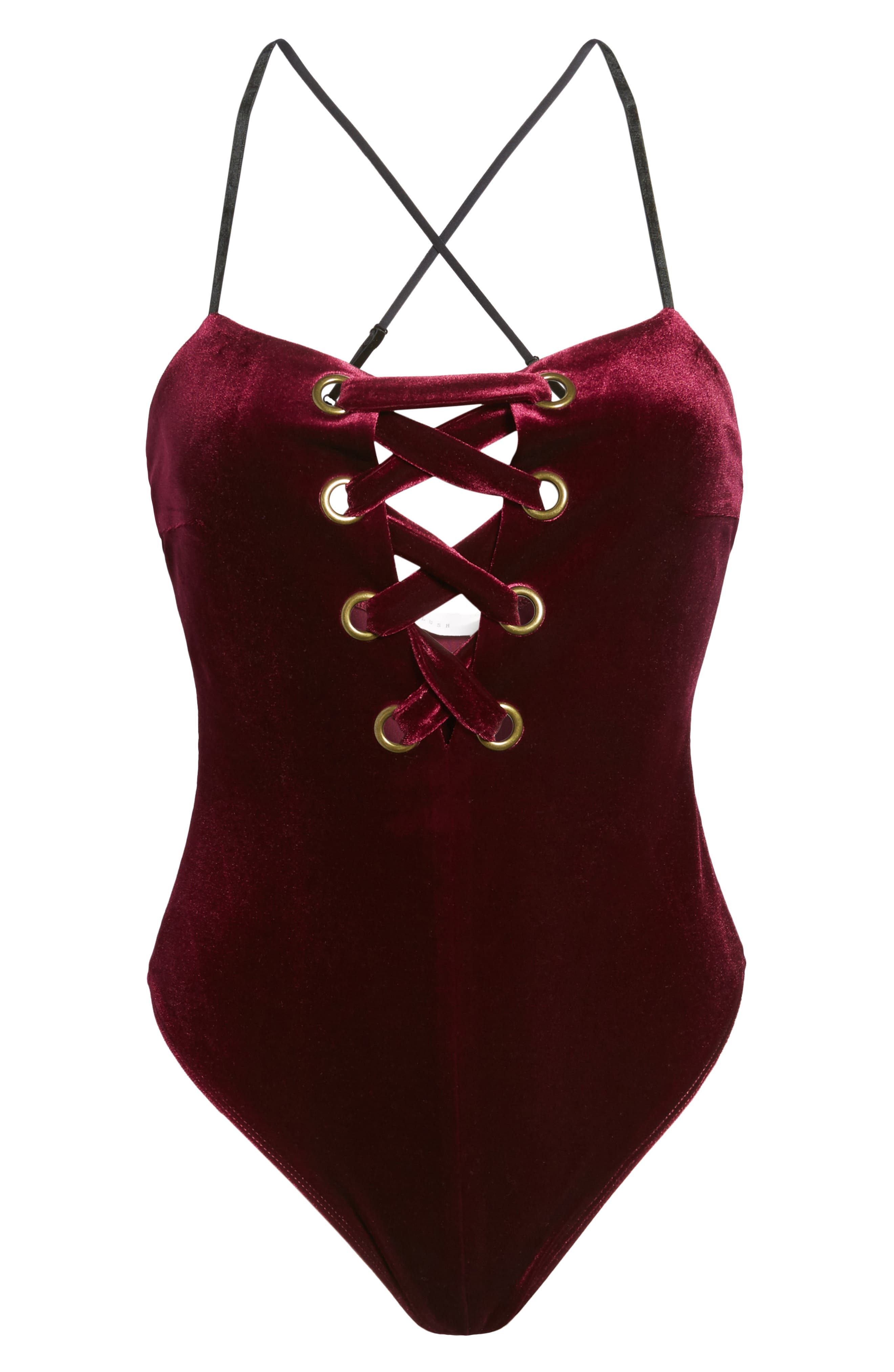 Lace Up Velvet Bodysuit,                             Alternate thumbnail 6, color,                             Burgundy