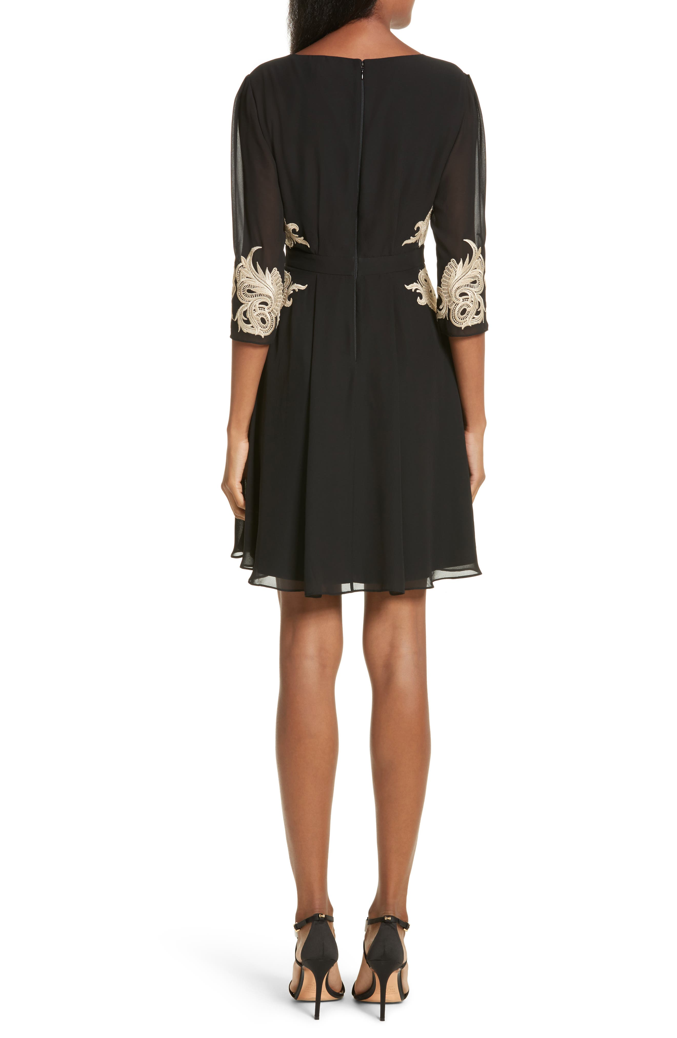 Gaenor Embroidered Fit & Flare Dress,                             Alternate thumbnail 2, color,                             Black