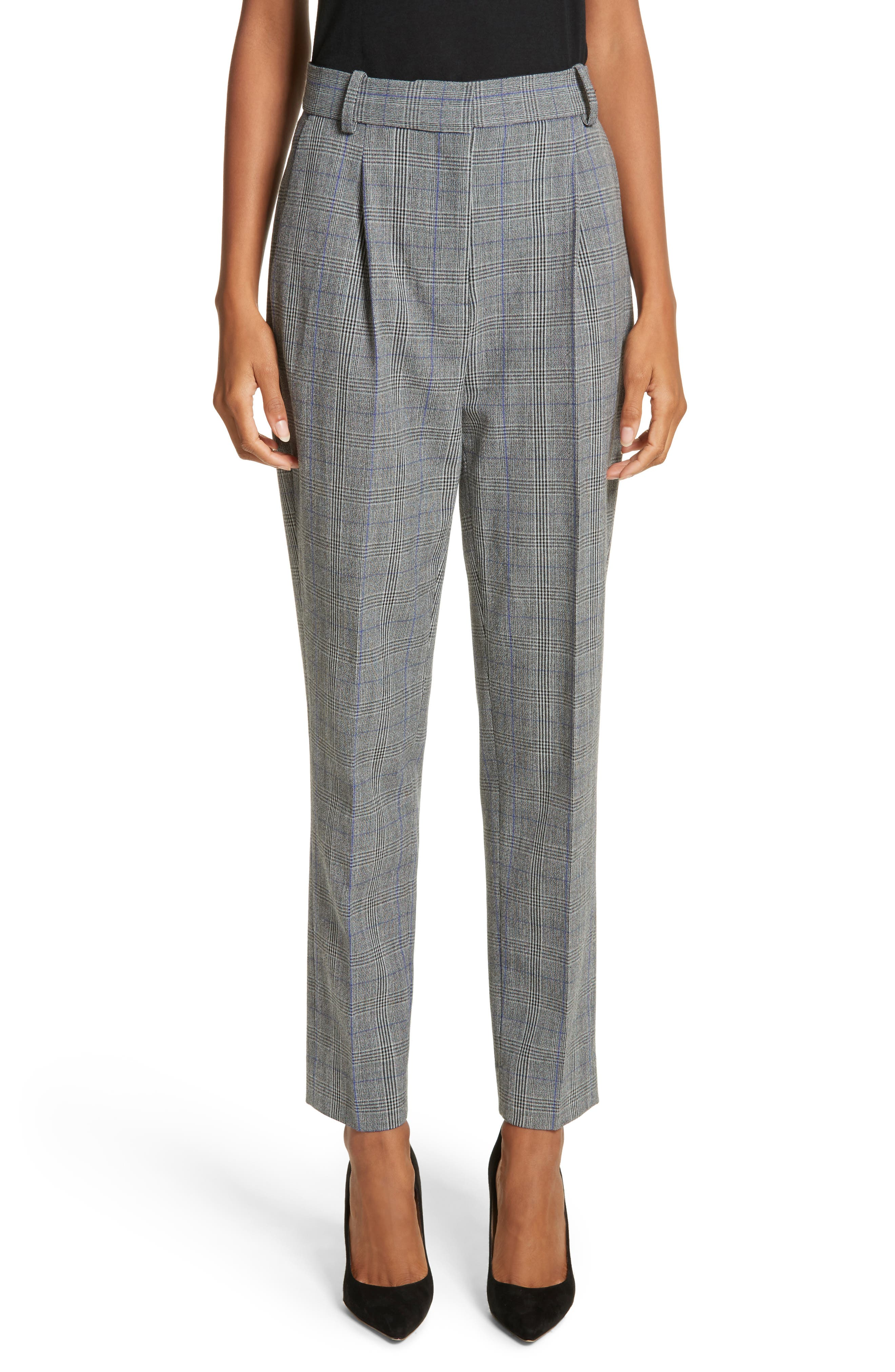 Check Pleat Front Pants,                         Main,                         color, Black Combo