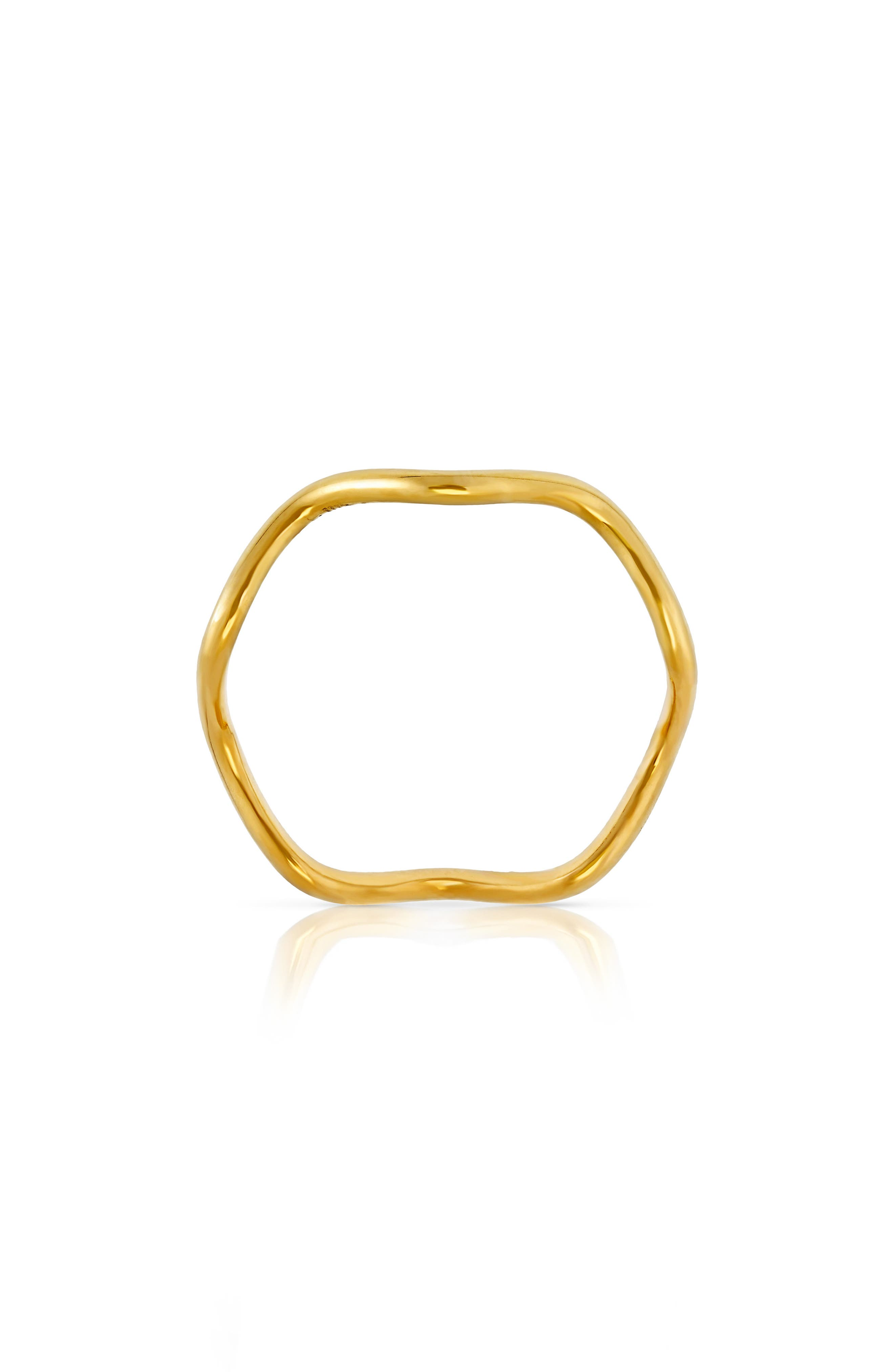 Wave Band Ring,                             Alternate thumbnail 3, color,                             Yellow Gold