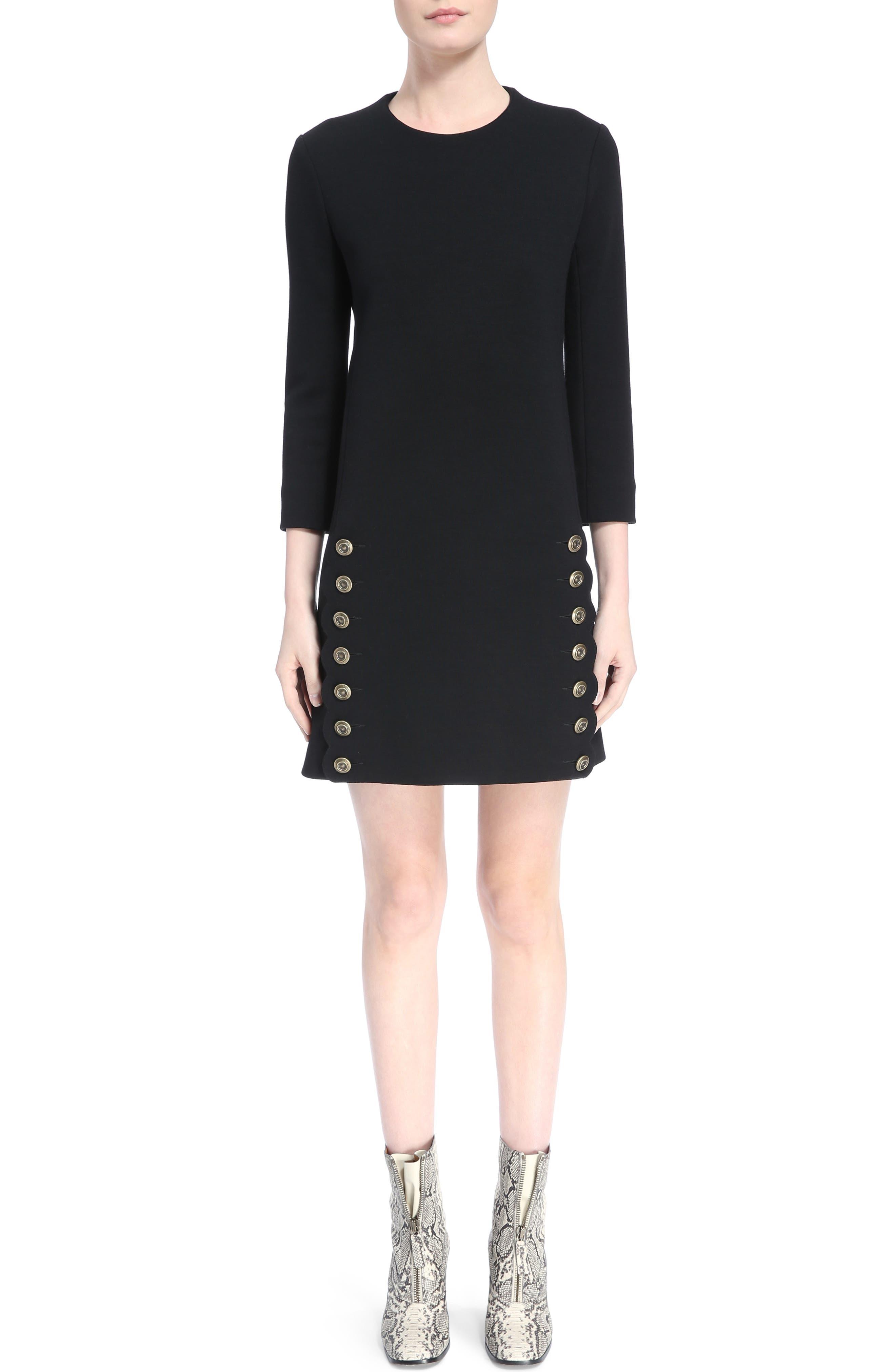 Button Trim Wool Knit Dress,                         Main,                         color, Black