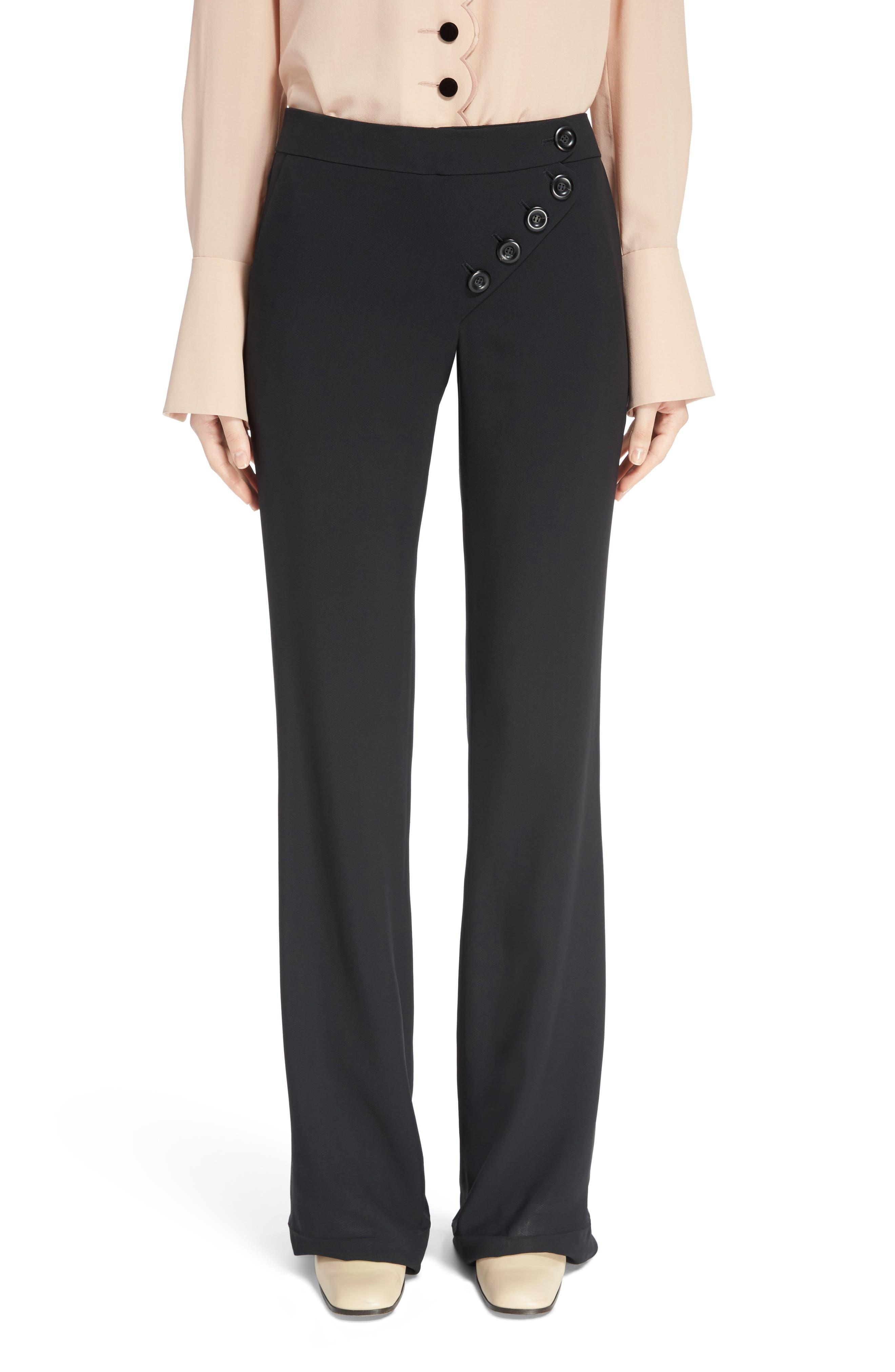 Asymmetrical Button Flare Cady Pants,                         Main,                         color, Black