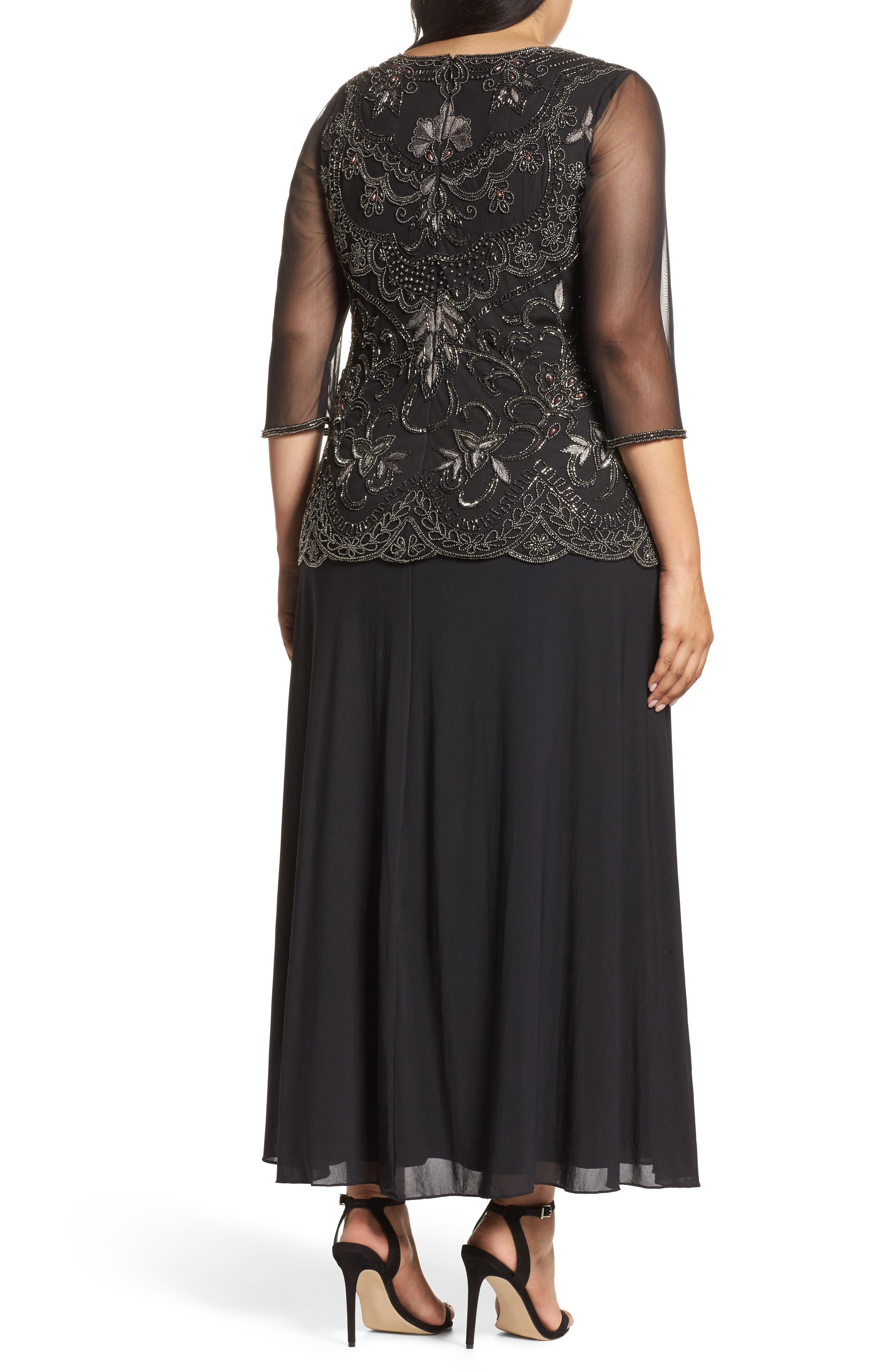 Embellished Mock Two-Piece Gown,                             Alternate thumbnail 2, color,                             Black