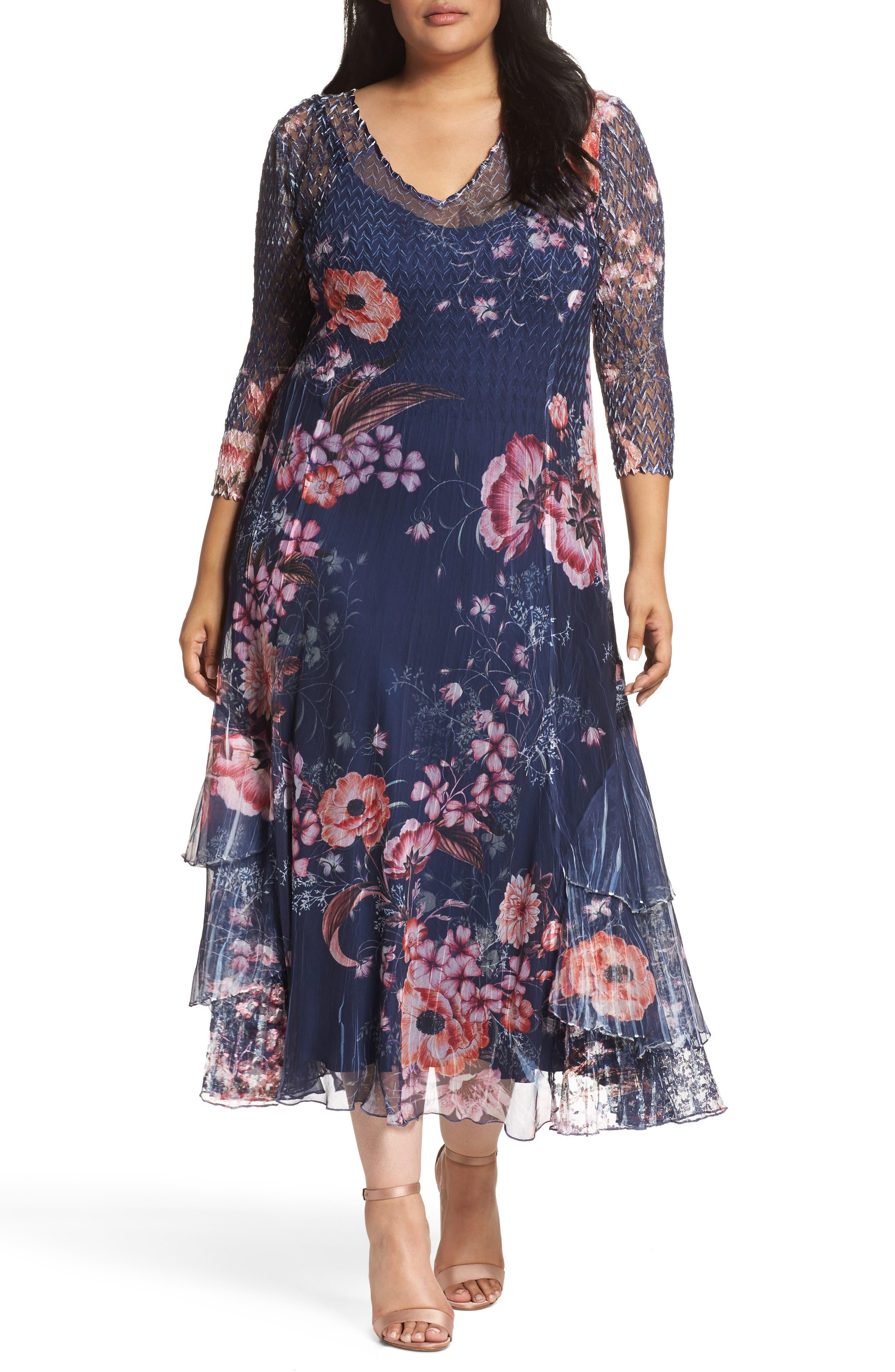 Print Chiffon Tiered Maxi Dress,                         Main,                         color, Coral Glow
