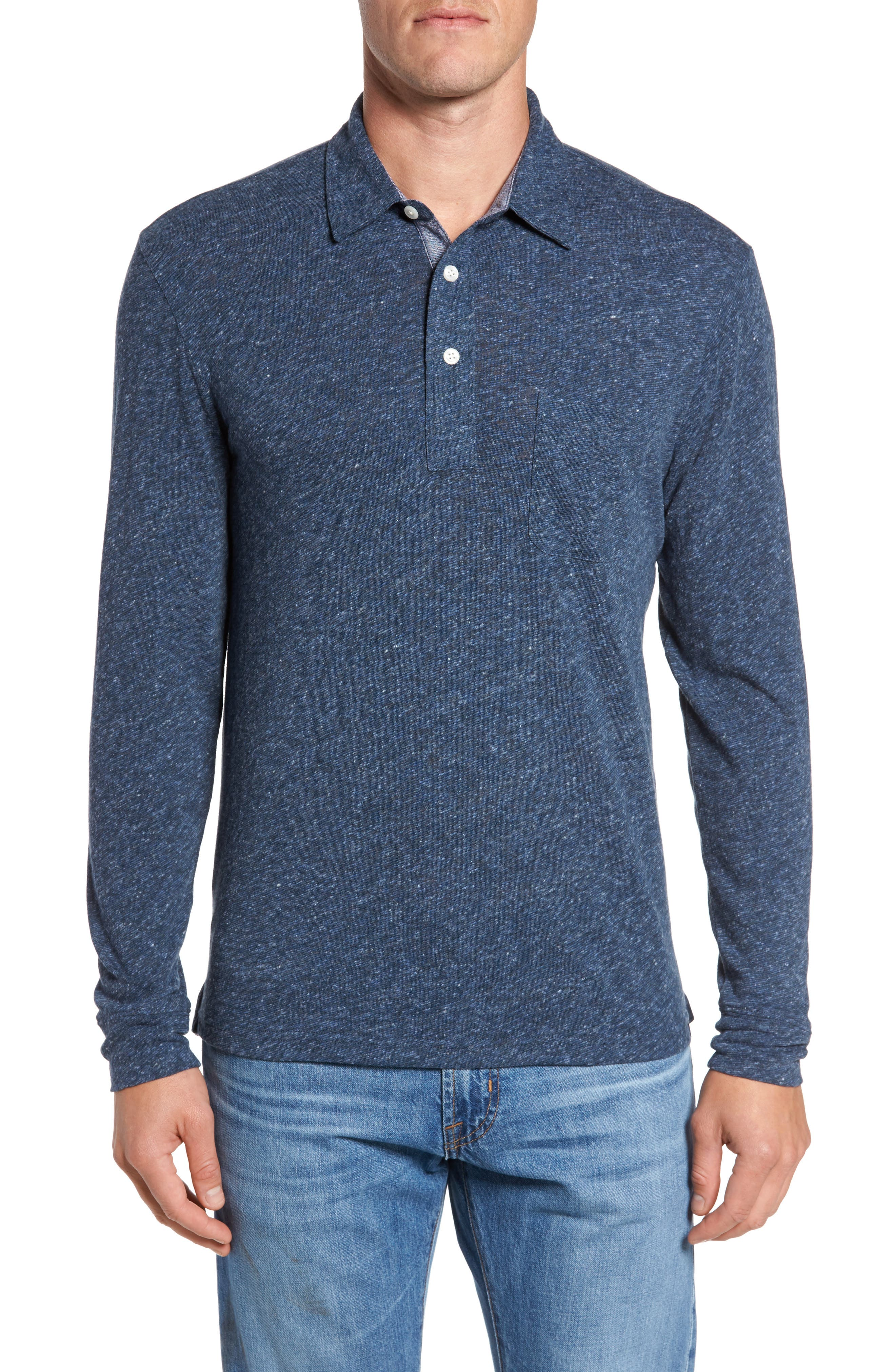 Main Image - Faherty Stripe Long Sleeve Polo