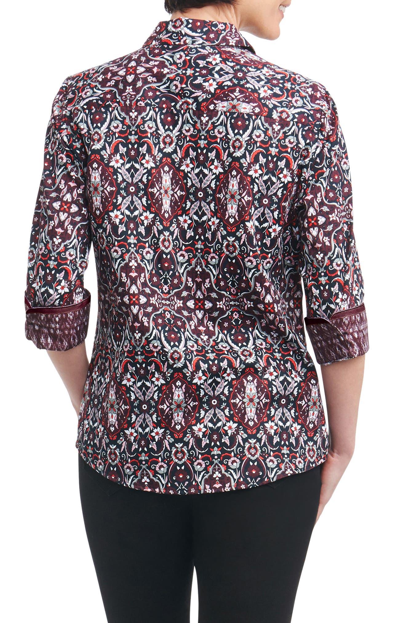 Alternate Image 2  - Foxcroft Ava Heirloom Paisley Shirt (Regular & Petite)