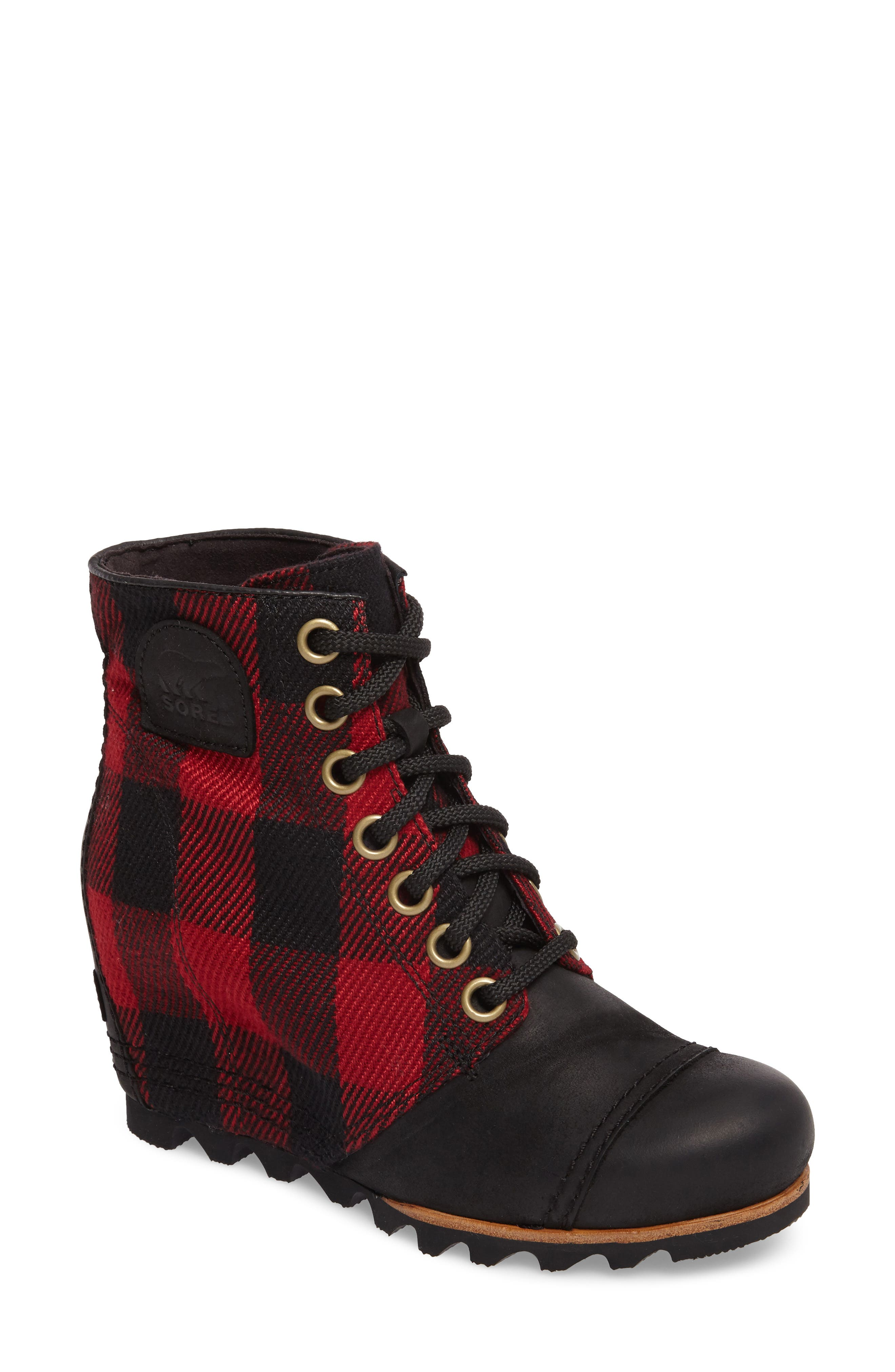 PDX<sup>™</sup> Waterproof Wedge Bootie,                             Main thumbnail 1, color,                             Black Plaid