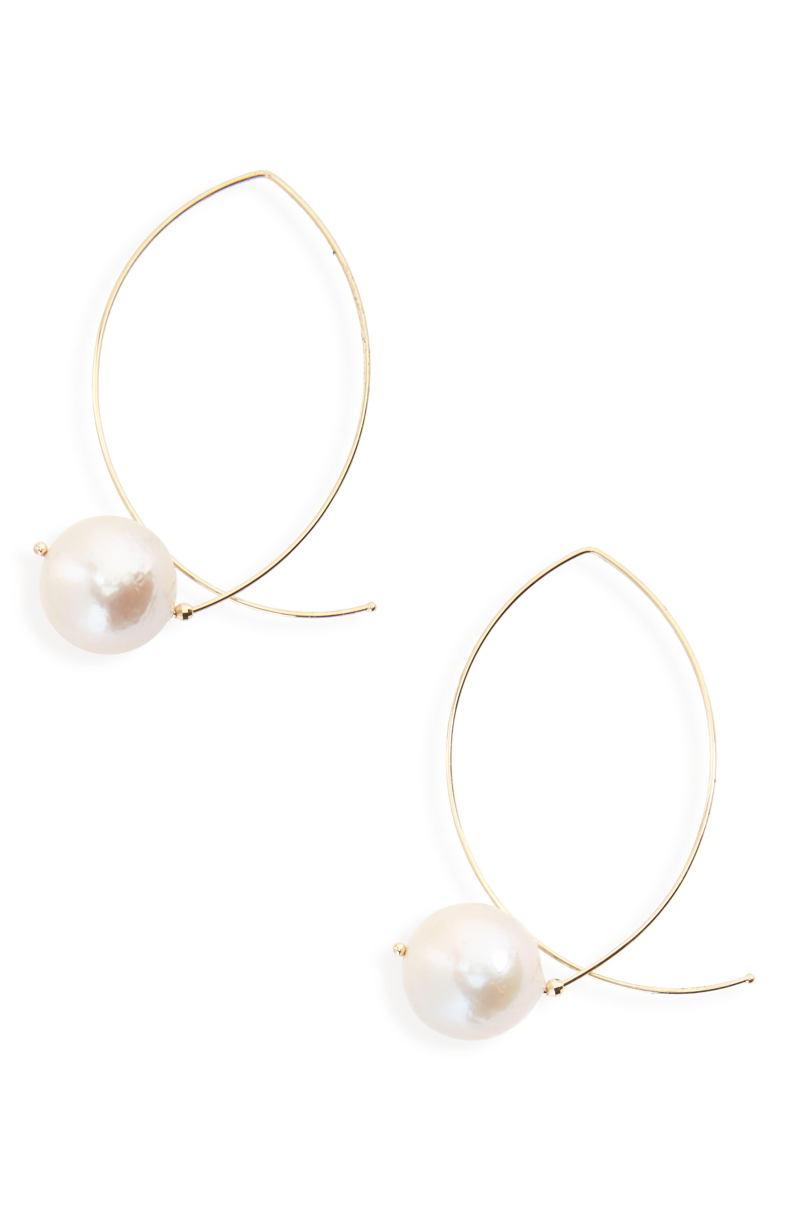 Sea of Beauty Baroque Pearl Earrings,                             Main thumbnail 1, color,                             Pl 14Kyg