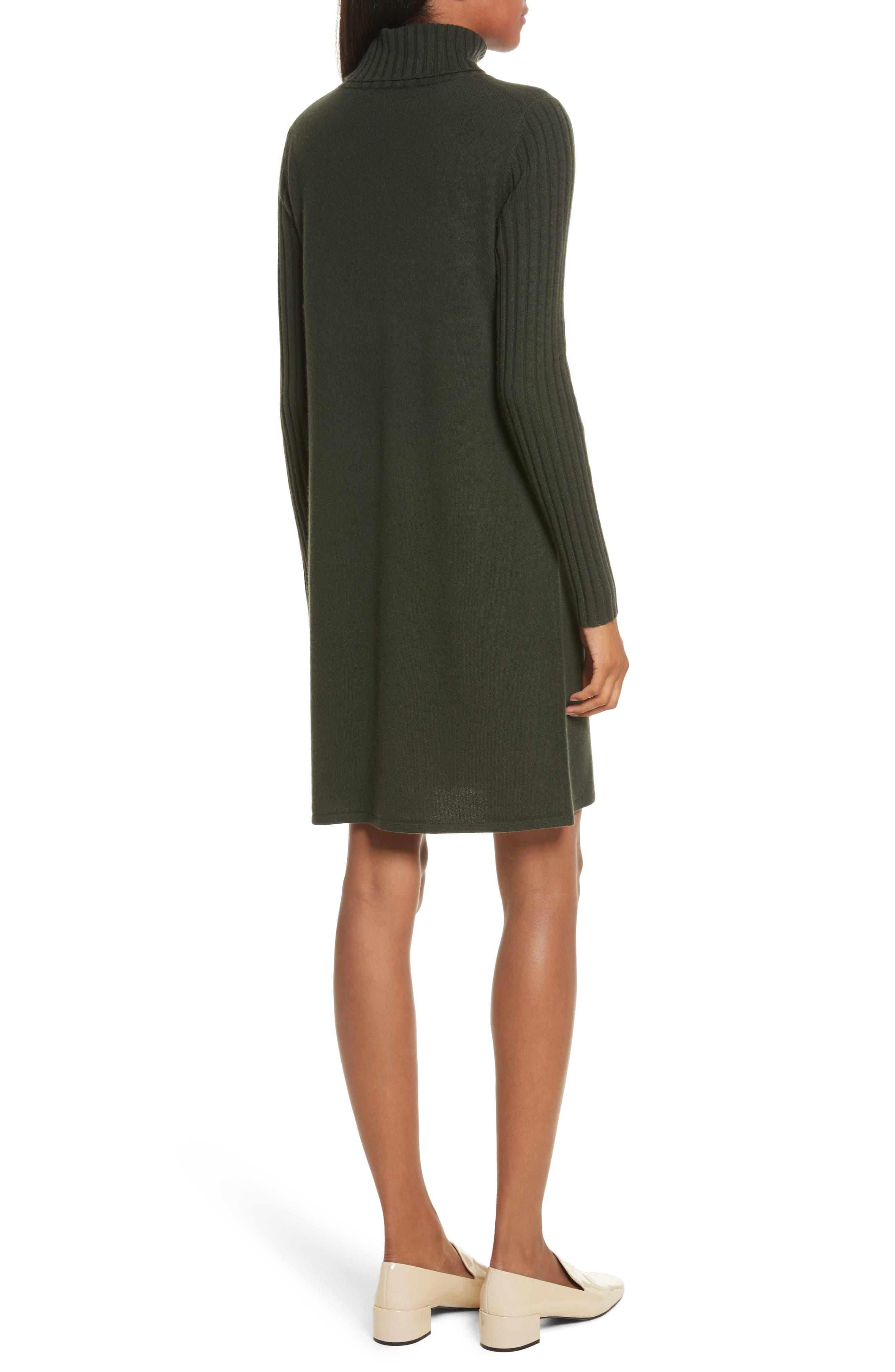 Cashmere Turtleneck Sweater Dress,                             Alternate thumbnail 2, color,                             Dark Olive