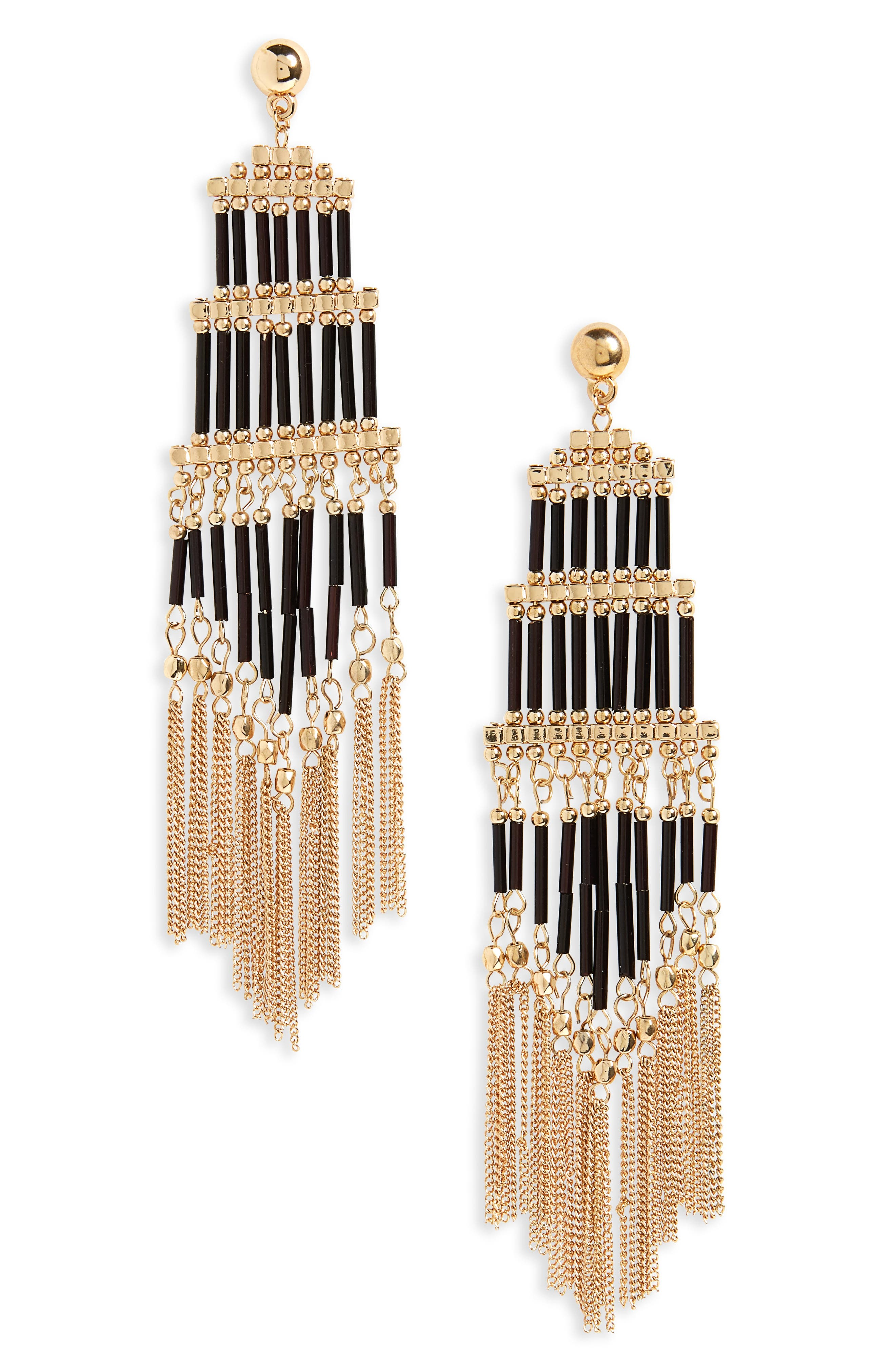 Beaded Fringe Drop Earrings,                         Main,                         color, Gold
