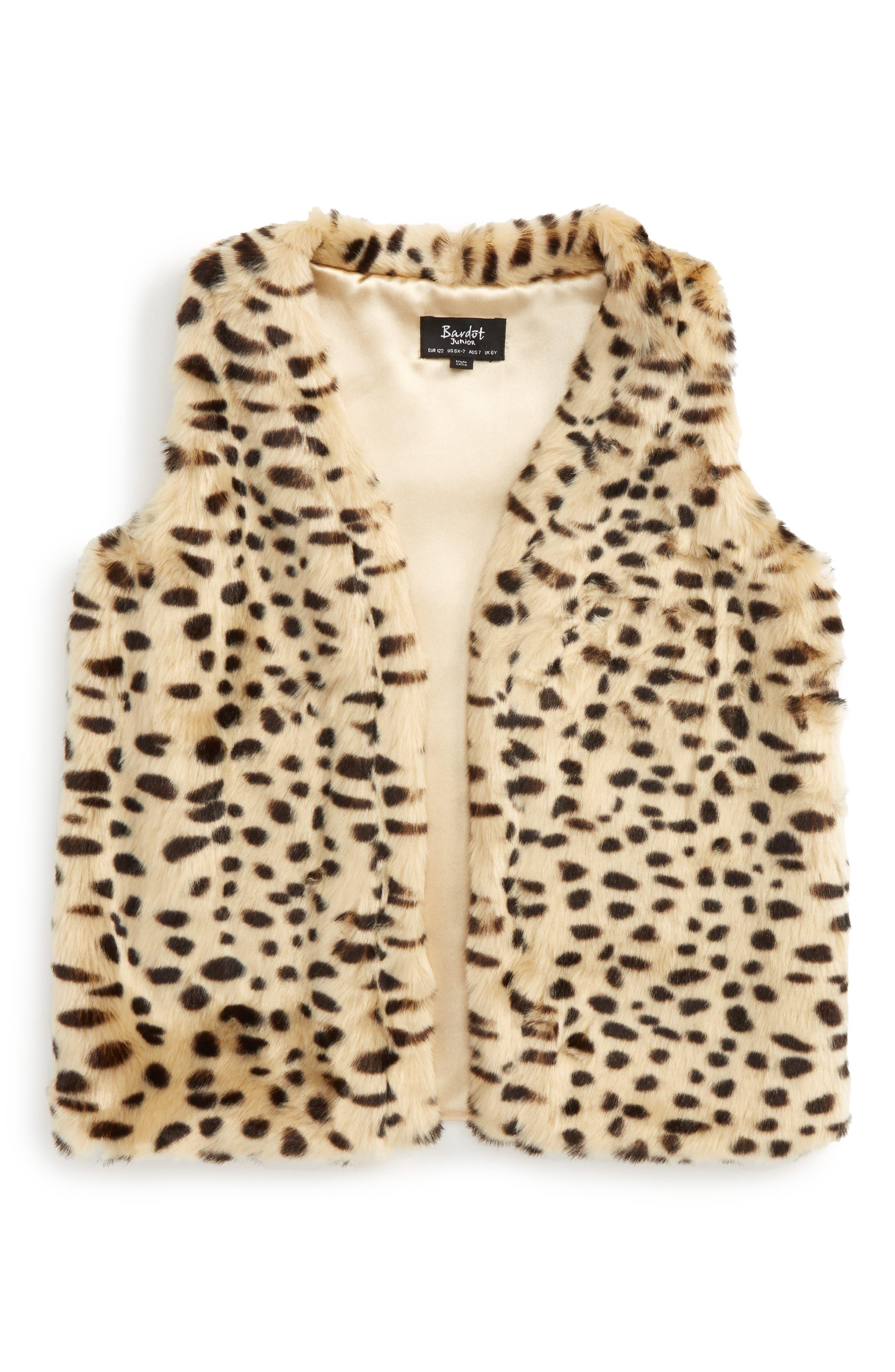 Leopard Print Faux Fur Vest,                         Main,                         color, Leopard