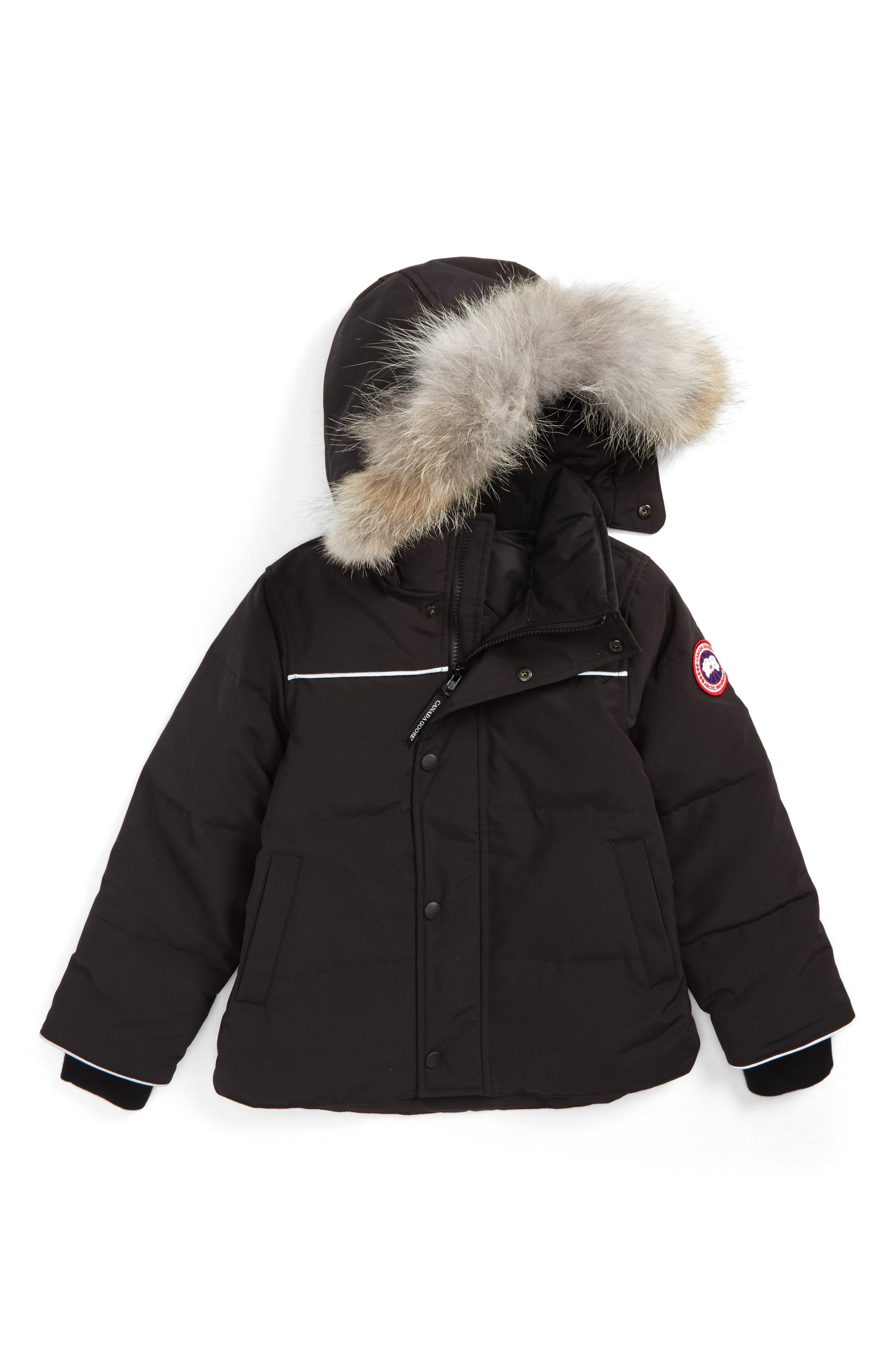 Snowy Owl Down Parka with Genuine Coyote Fur Trim,                             Main thumbnail 1, color,                             Black