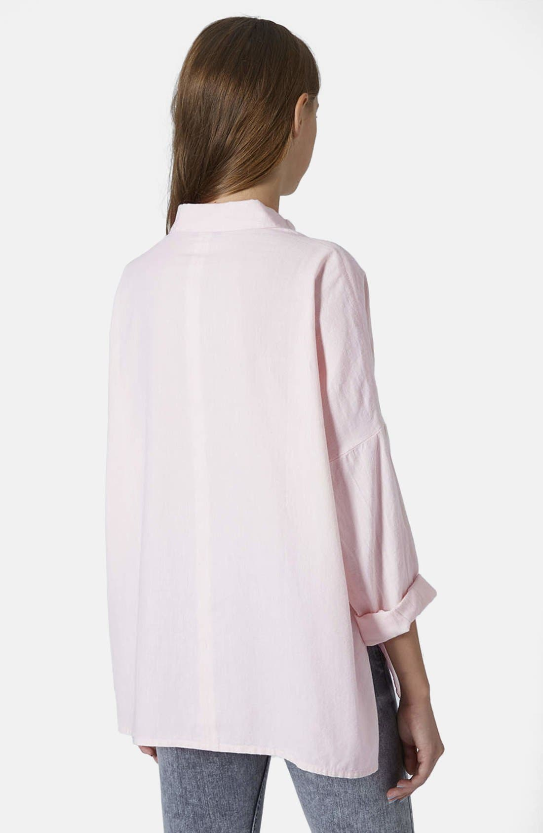 Oversized Chambray Shirt,                             Alternate thumbnail 2, color,                             Pink