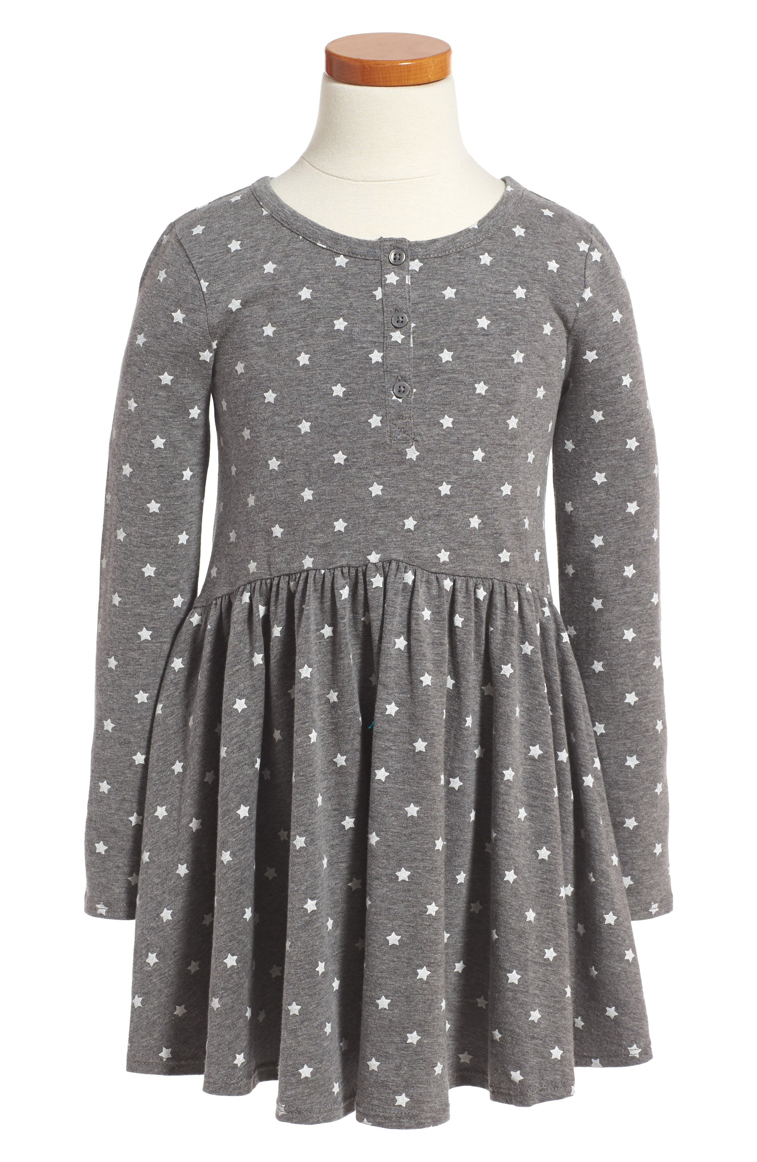 Print Knit Dress,                         Main,                         color, Grey Charcoal Heather Stars