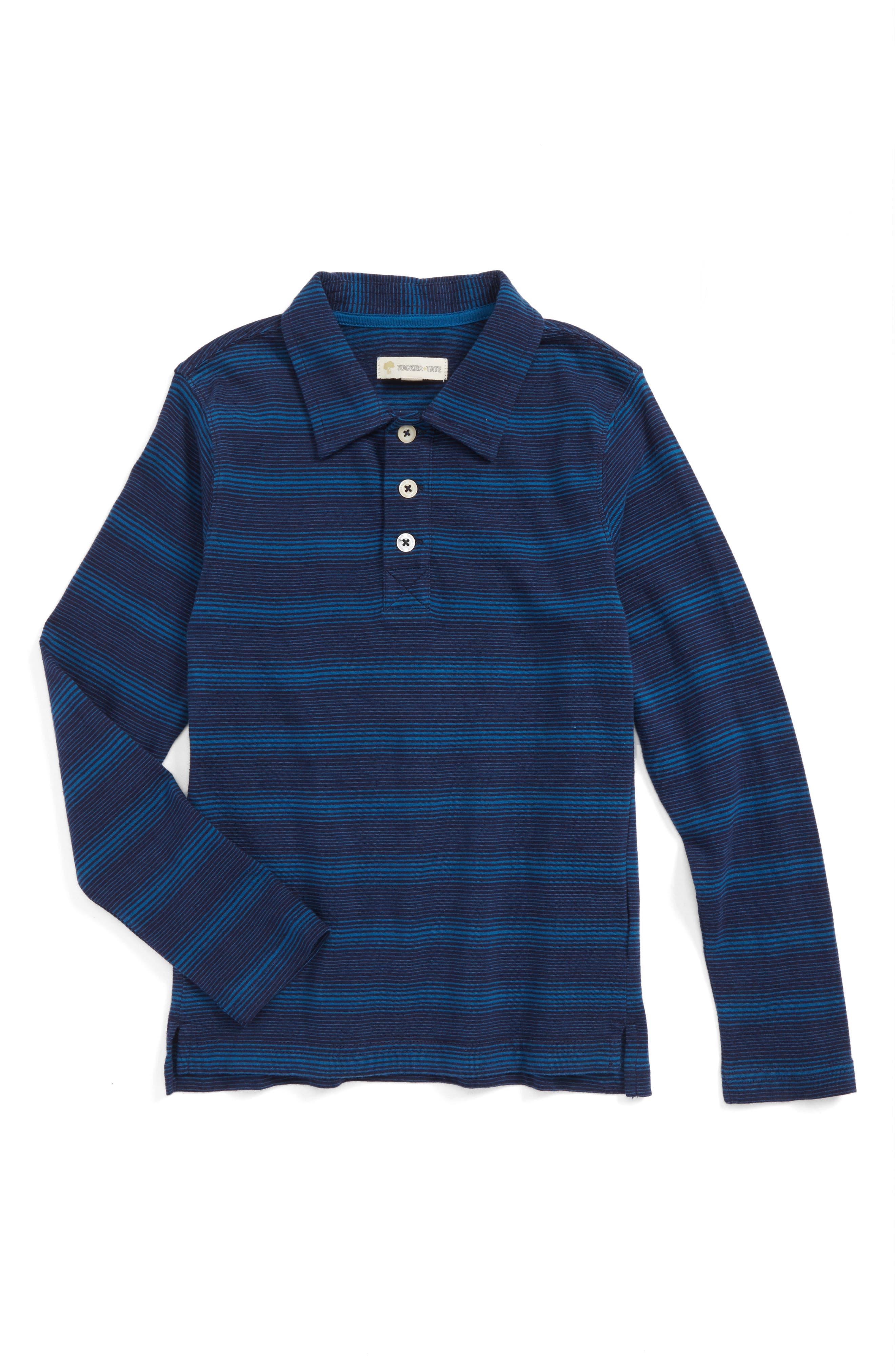 Long Sleeve Polo,                         Main,                         color, Navy Midnight- Blue Stripe