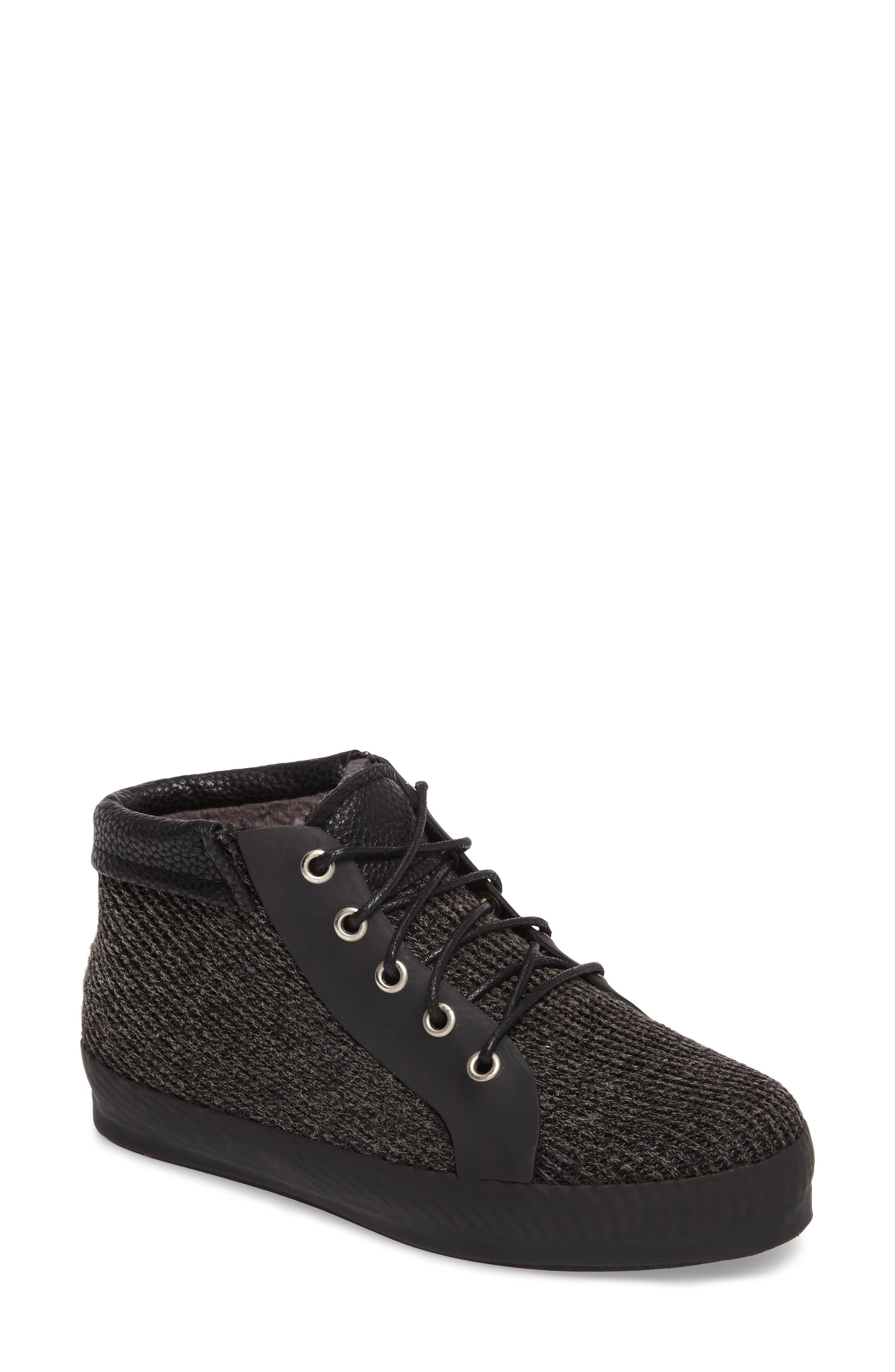 Hampton Waterproof Mid Sneaker,                             Main thumbnail 1, color,                             Black Fabric