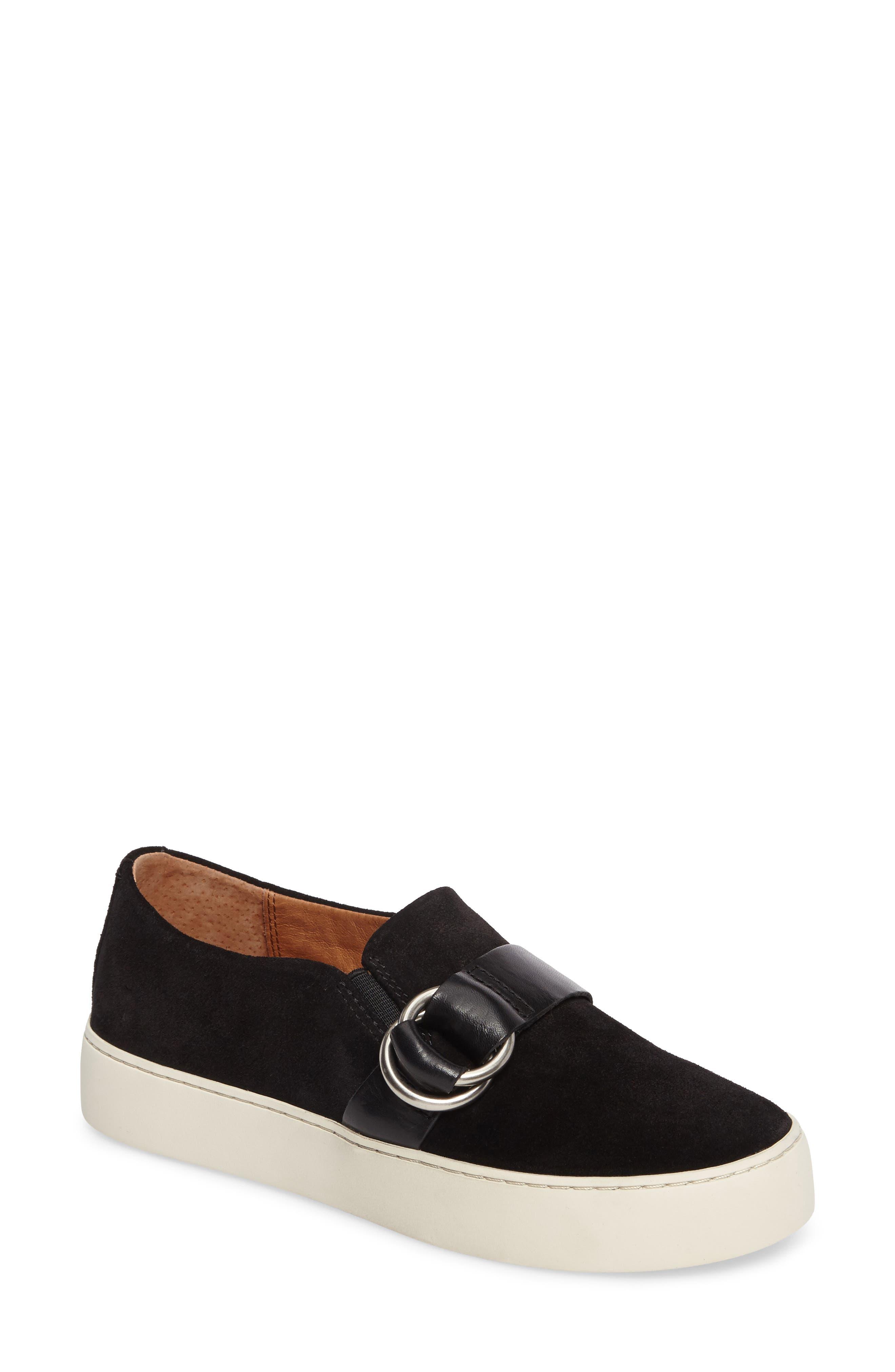Lena Harness Slip-On Sneaker,                             Main thumbnail 1, color,                             Black