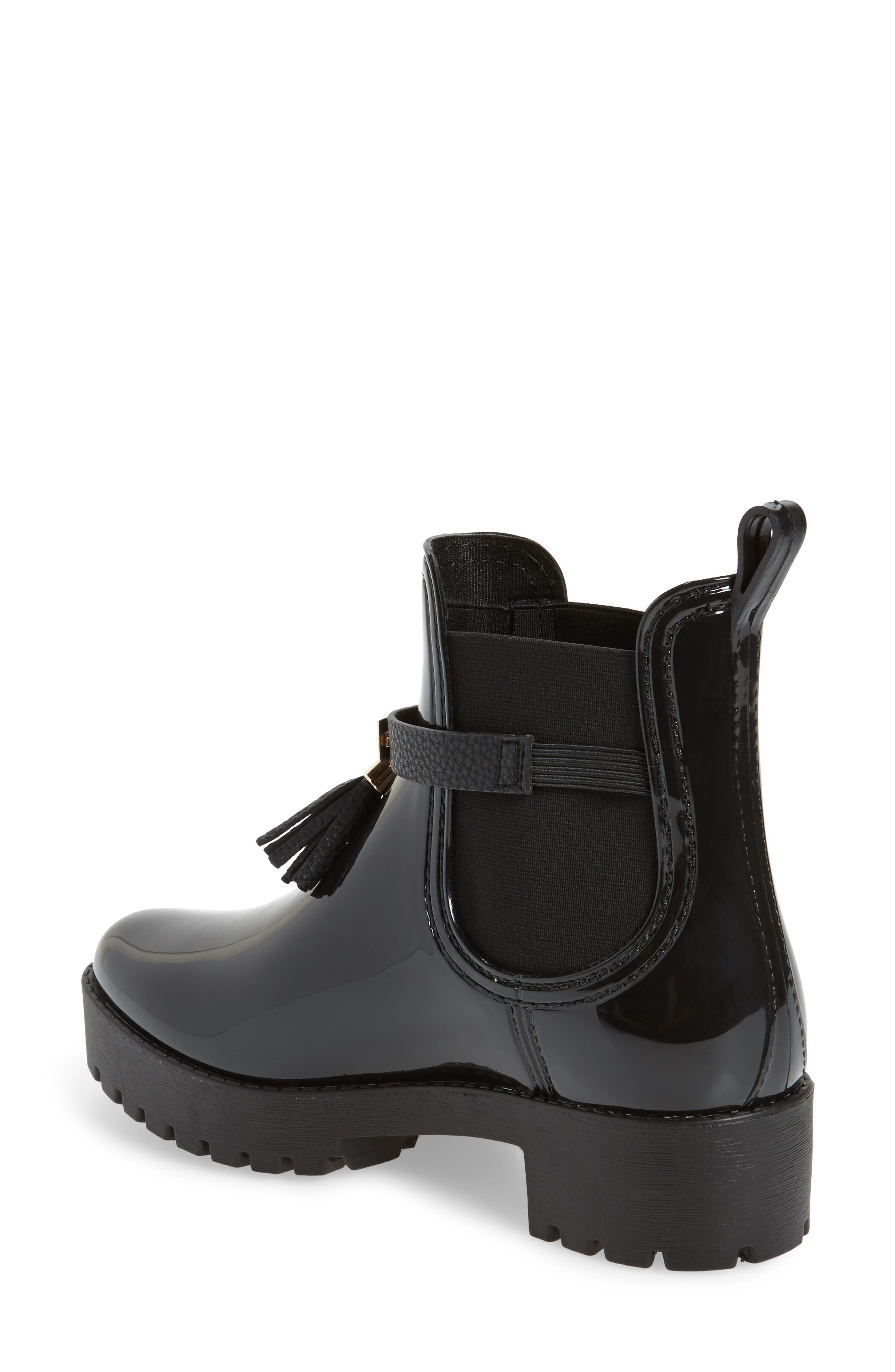 Leeds Tassel Waterproof Chelsea Boot,                             Alternate thumbnail 2, color,                             Black