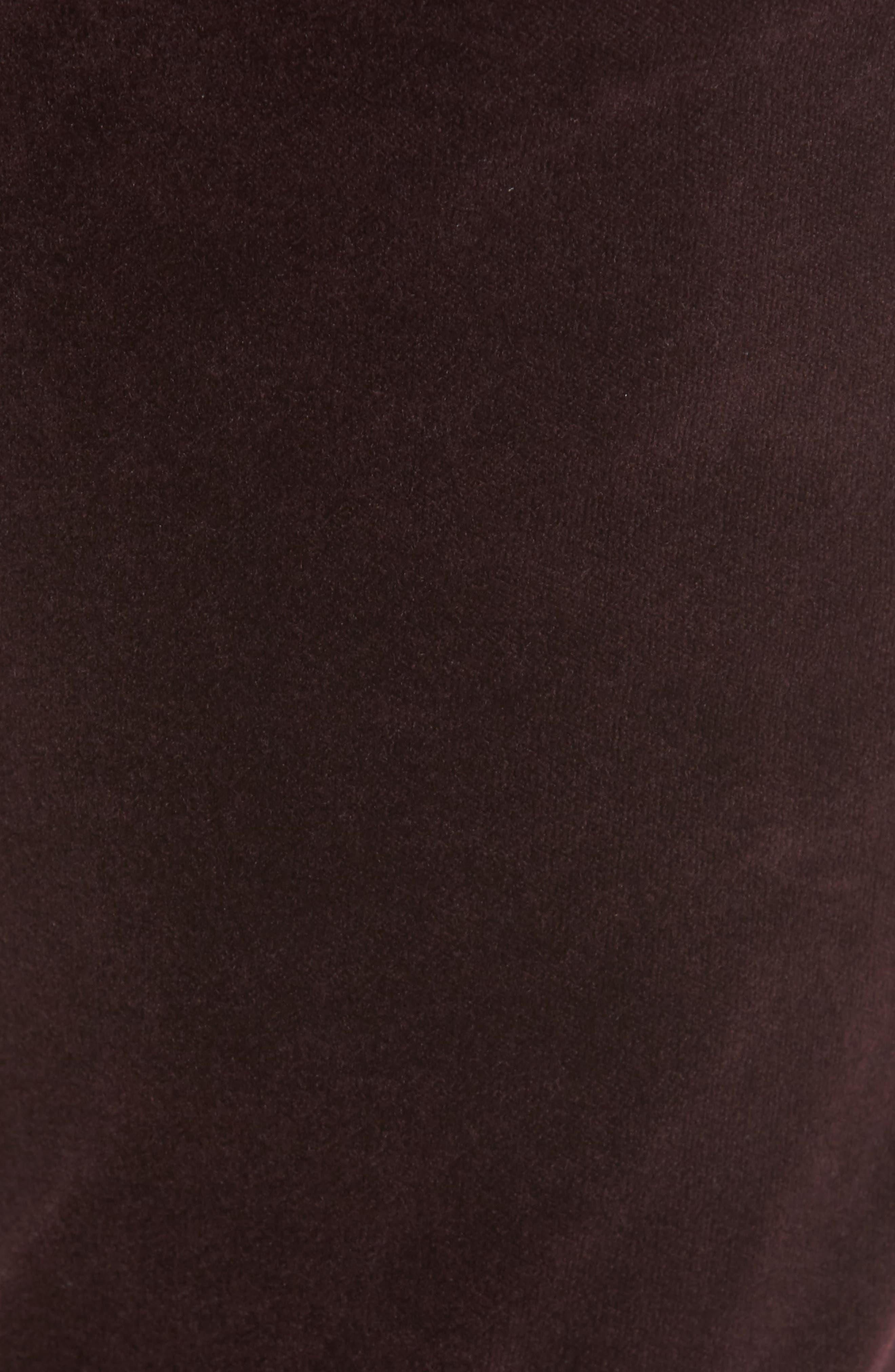 Rocket High Waist Velveteen Skinny Pants,                             Alternate thumbnail 5, color,                             Black Currant Velvet