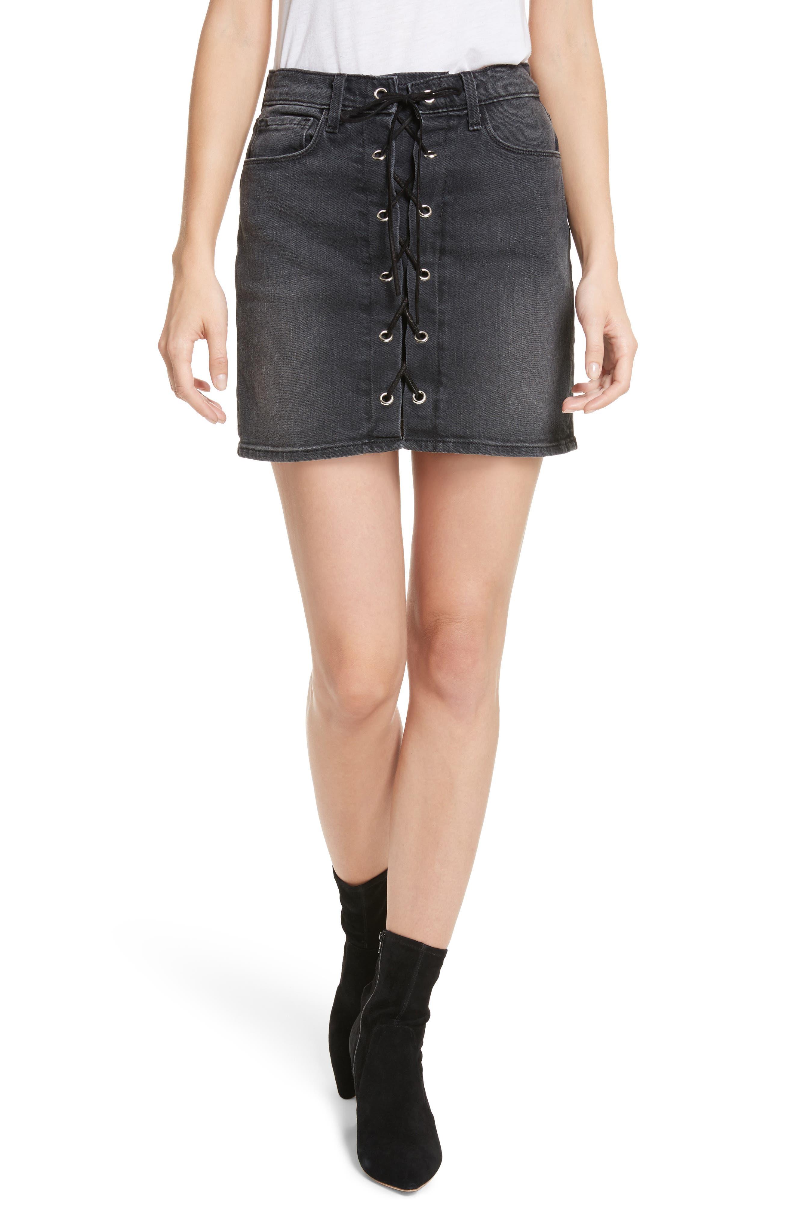 Portia Lace Up Denim Skirt,                         Main,                         color, Vintage Black