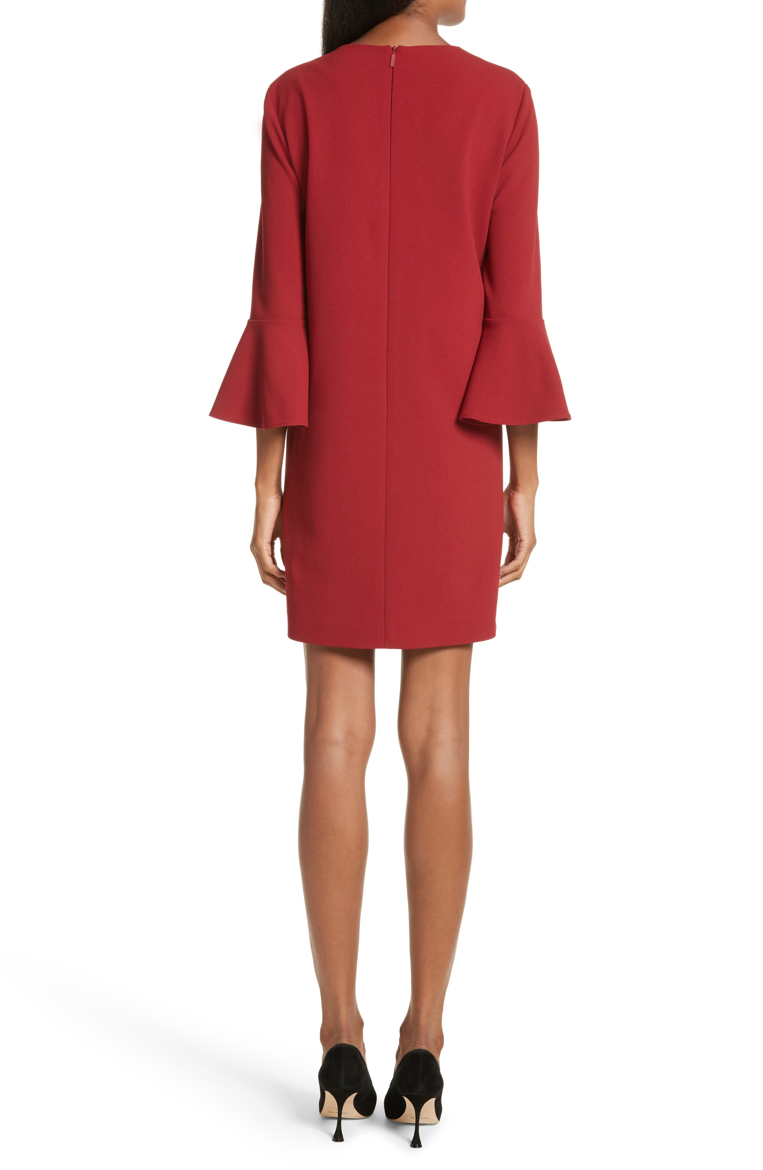 Bell Cuff Stretch Crepe Dress,                             Alternate thumbnail 2, color,                             Burnt Red