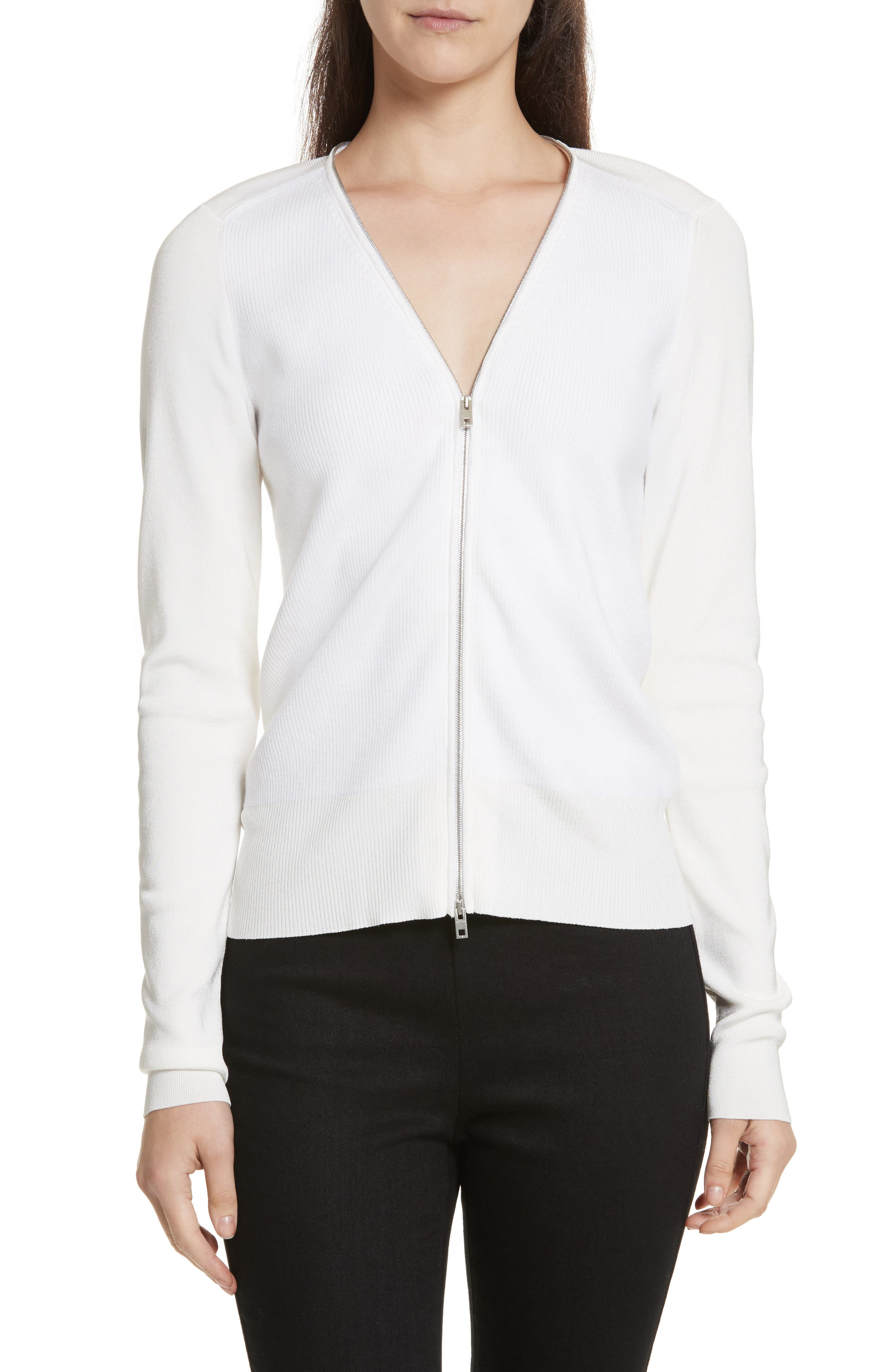 Vivienne Front Zip Sweater,                         Main,                         color, Ivory