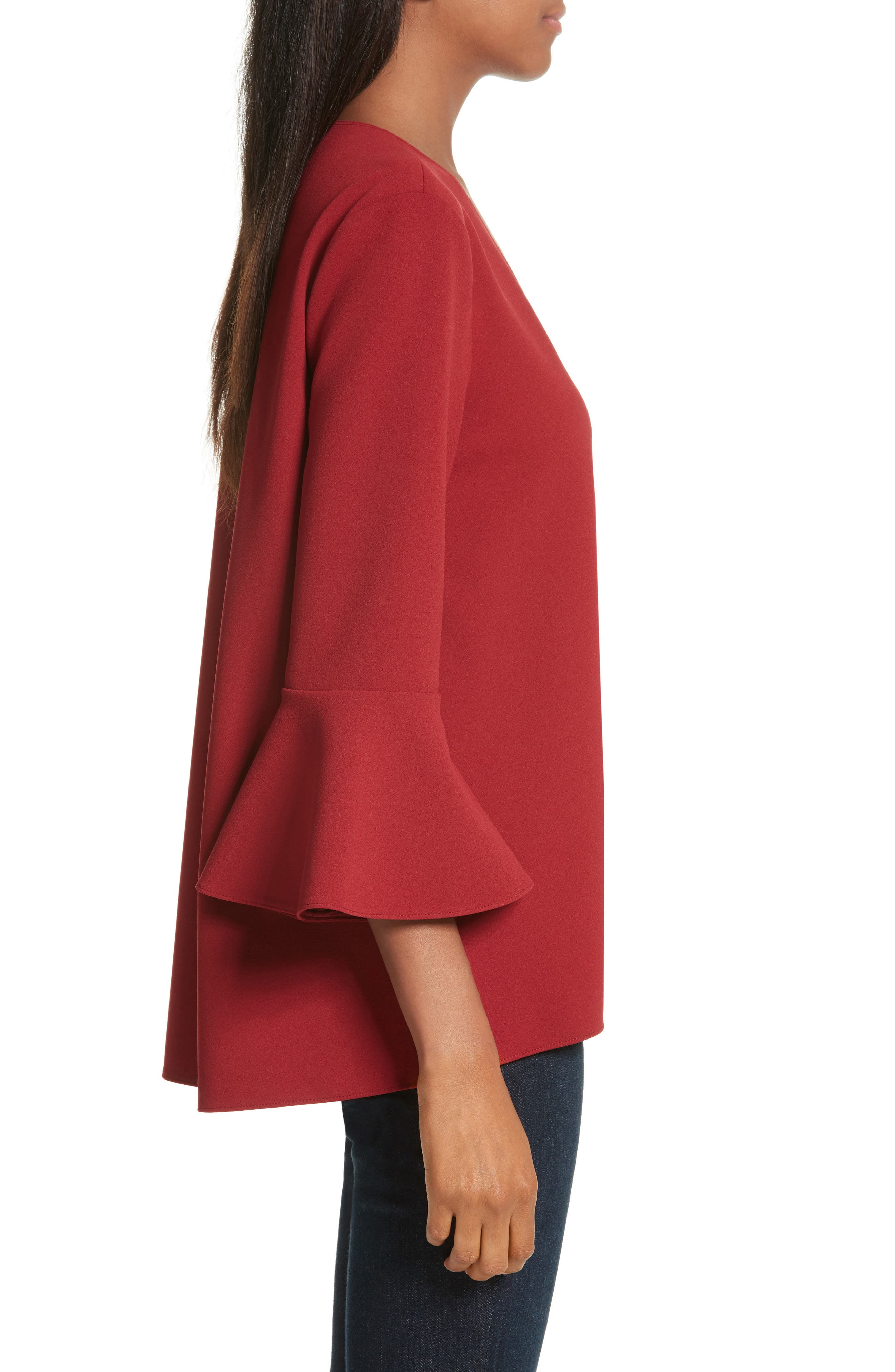 Ruffle Sleeve Stretch Crepe Top,                             Alternate thumbnail 3, color,                             Burt Red