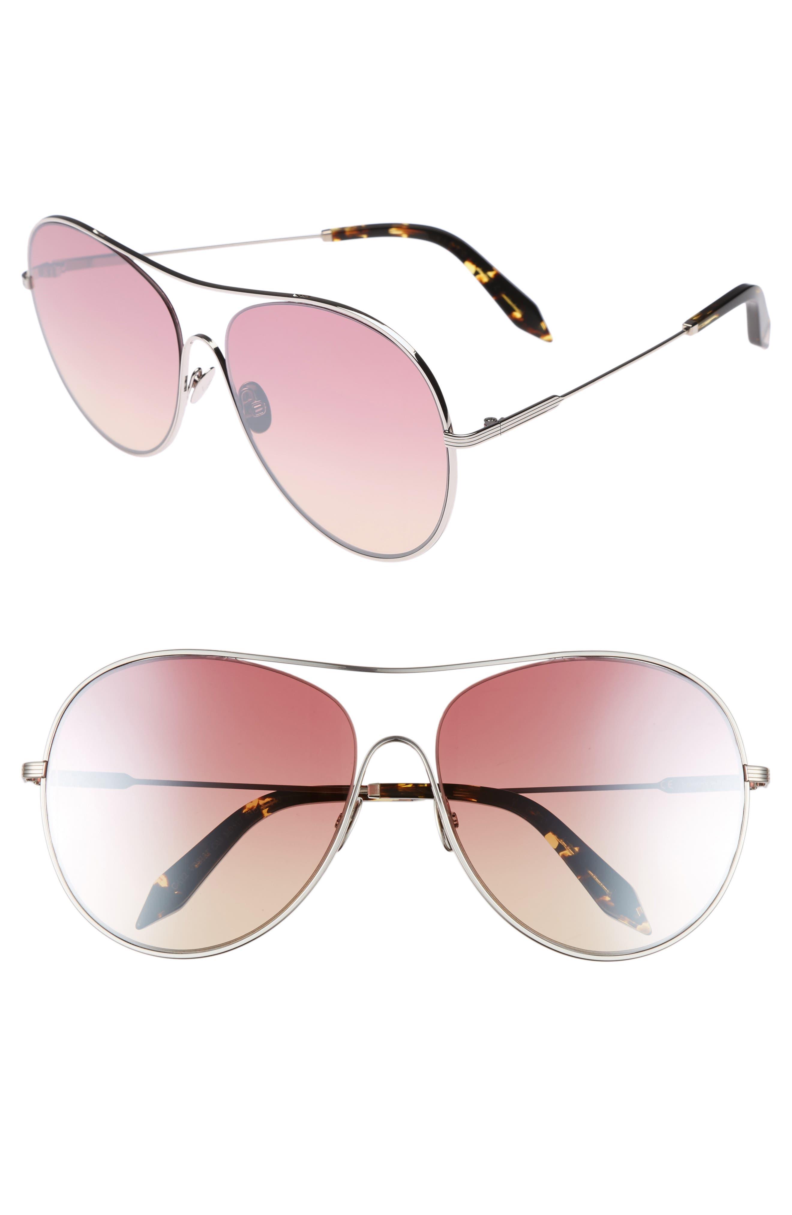 Main Image - Victoria Beckham Loop 63mm Oversize Round Sunglasses