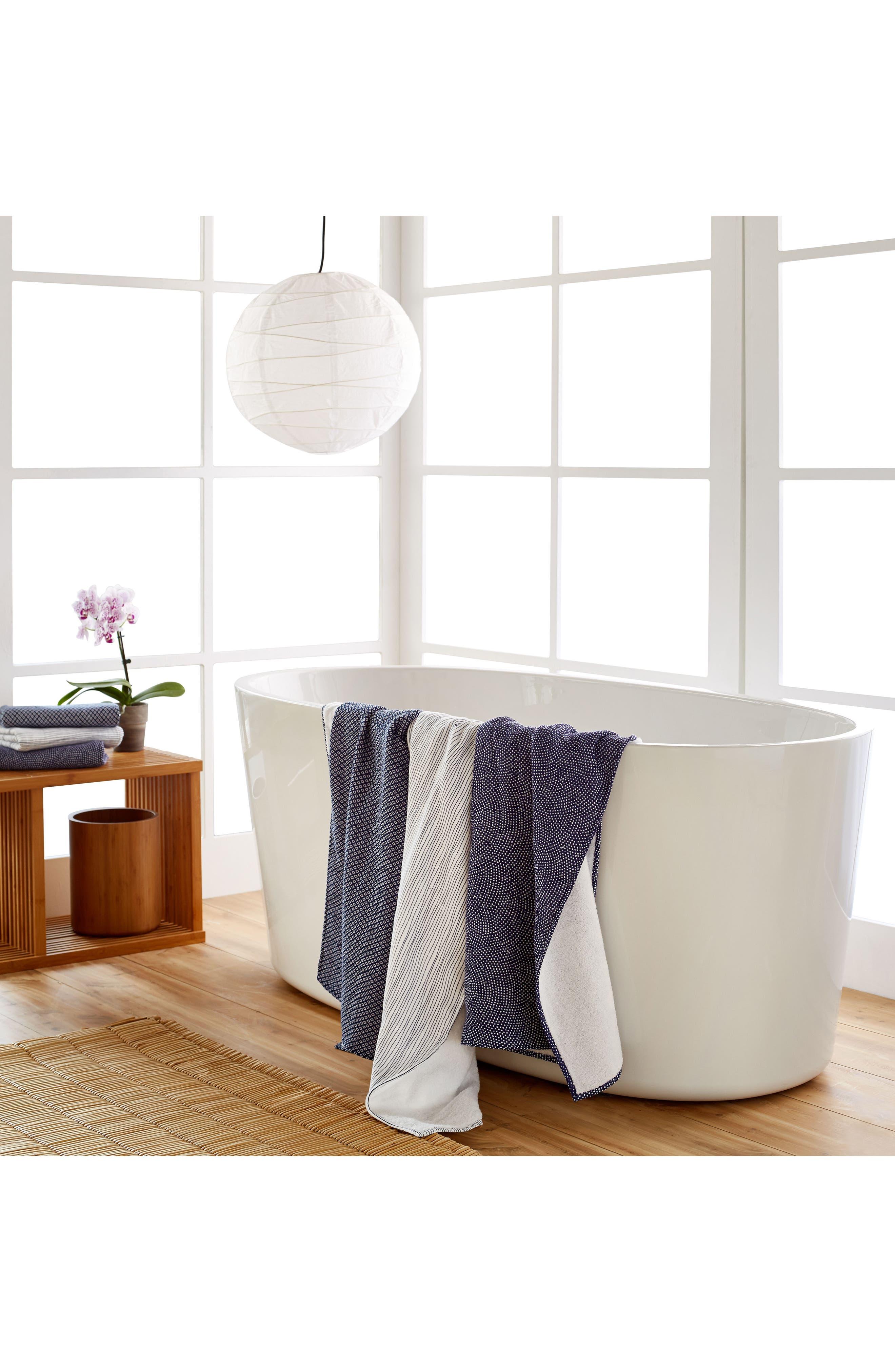 Zero Twist Stripe Bath Towel,                             Alternate thumbnail 3, color,                             Ivory