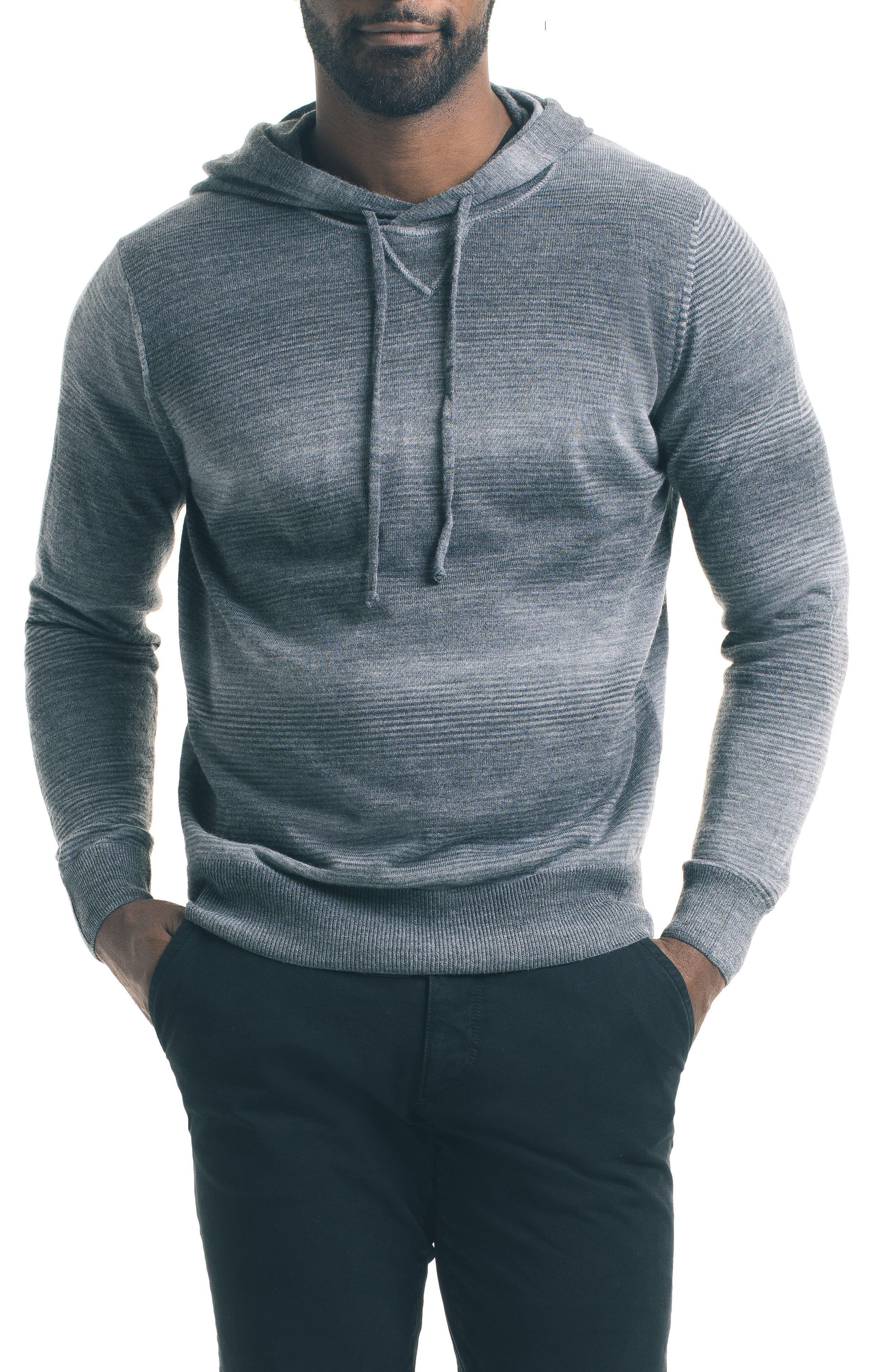 Classic Trim Fit Merino Hoodie,                         Main,                         color, Black/ Grey