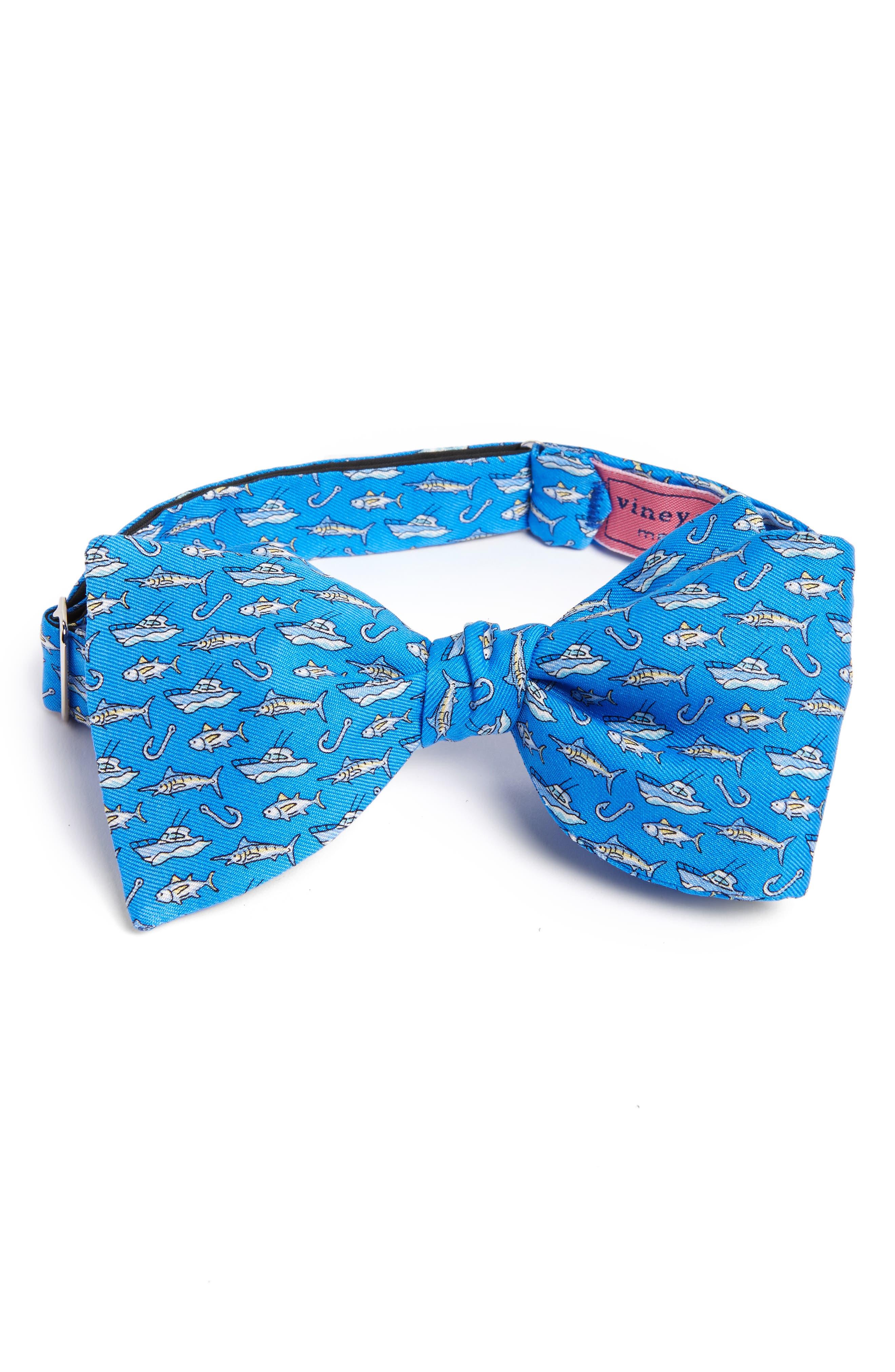 Coastal Fishing Silk Bow Tie,                         Main,                         color, Royal Blue