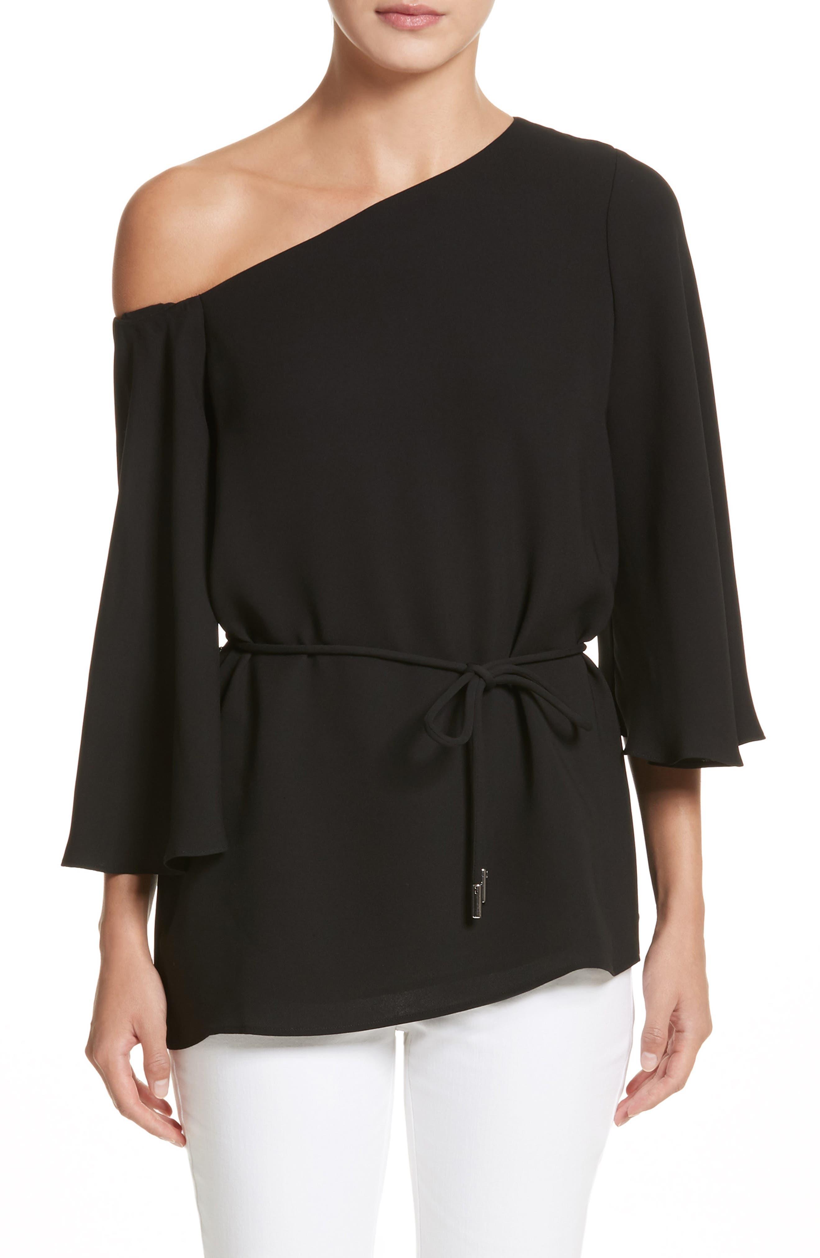Lara One-Shoulder Tie Silk Top,                         Main,                         color, Black