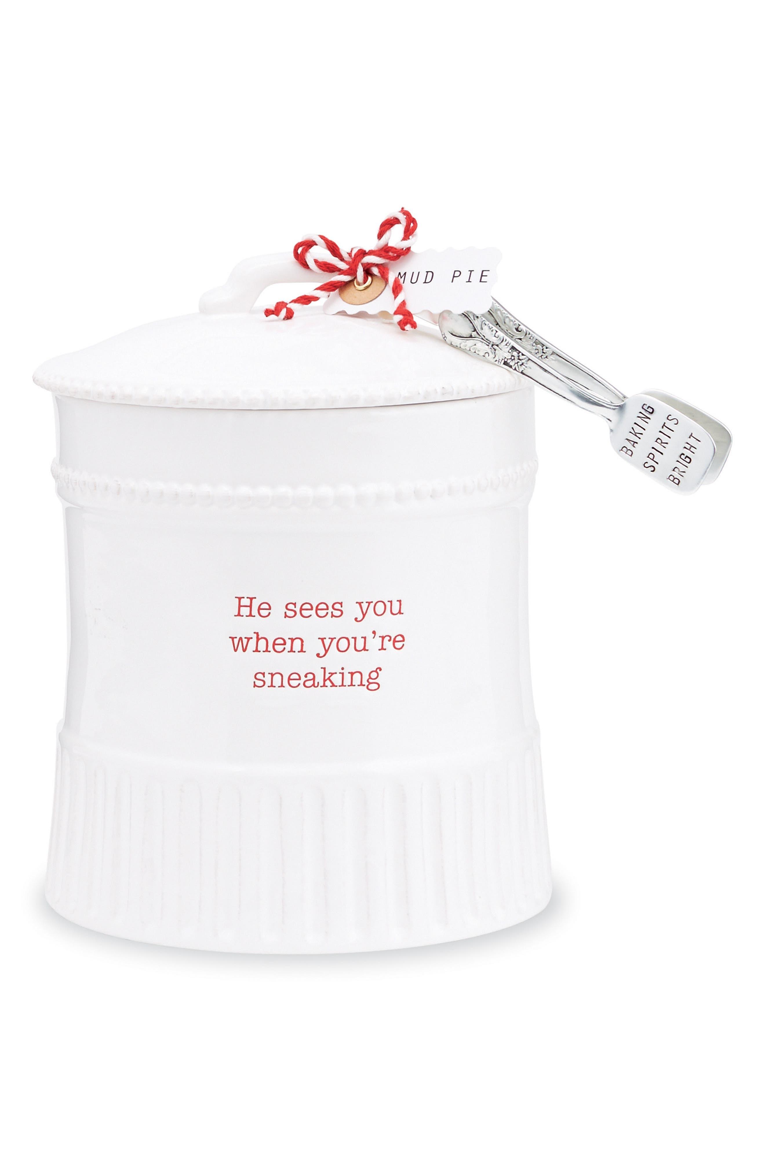 Holiday Stoneware Cookie Jar & Tongs,                             Main thumbnail 1, color,                             White