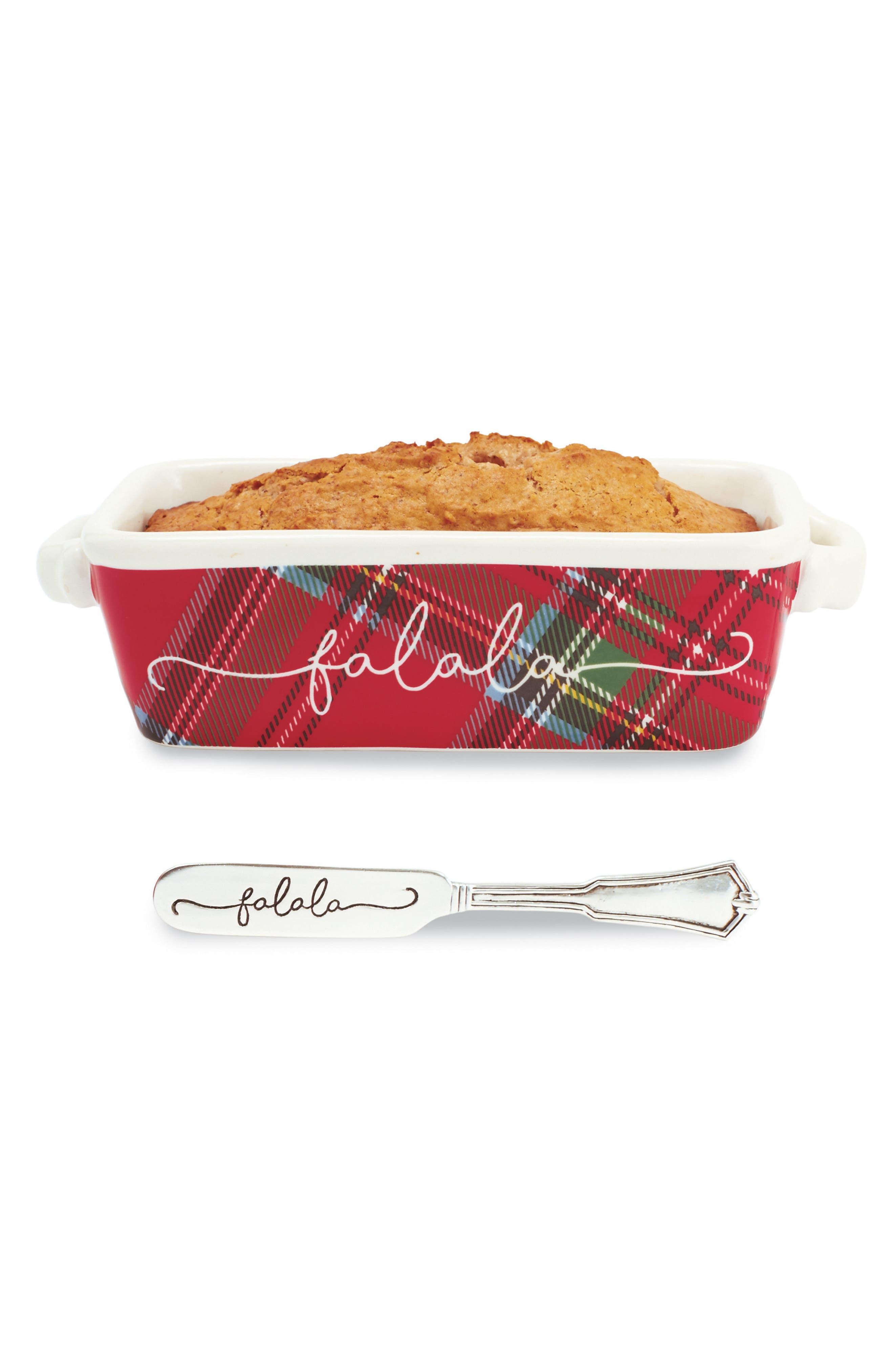 Fa La La Tartan Ceramic Mini Loaf Pan & Spreader,                         Main,                         color, Red